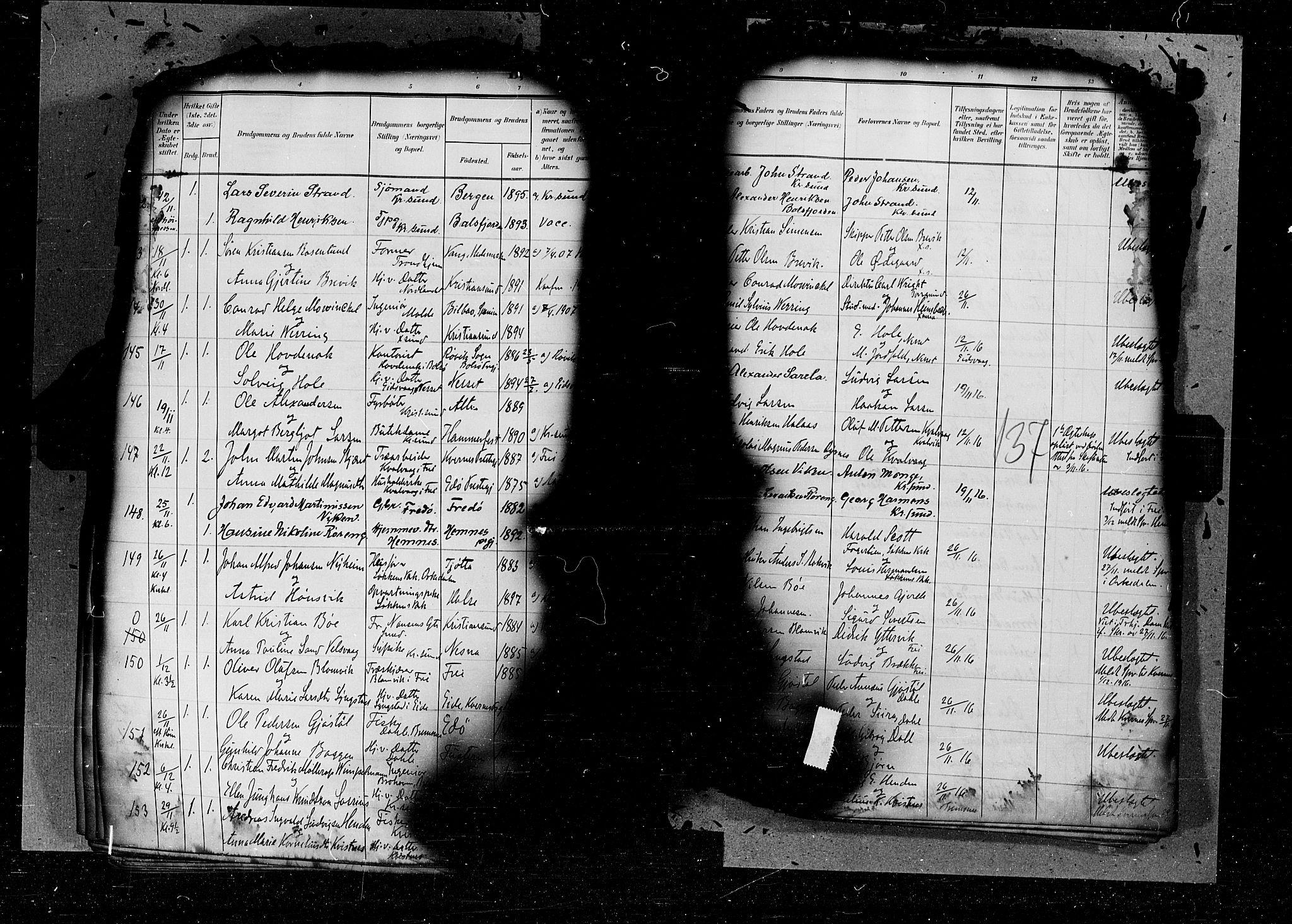 SAT, Arkivreferanse ukjent*, Parish register (official) no. 6d, 1905-1917, p. 137