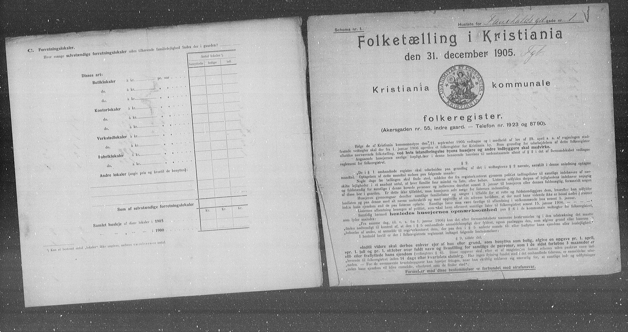 OBA, Municipal Census 1905 for Kristiania, 1905, p. 12279