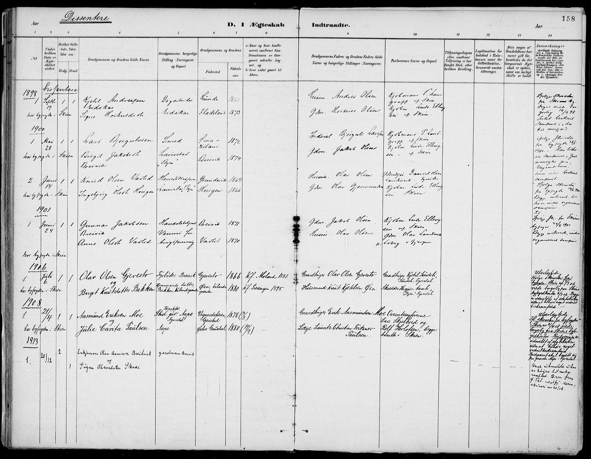 SAKO, Fyresdal kirkebøker, F/Fa/L0007: Parish register (official) no. I 7, 1887-1914, p. 158