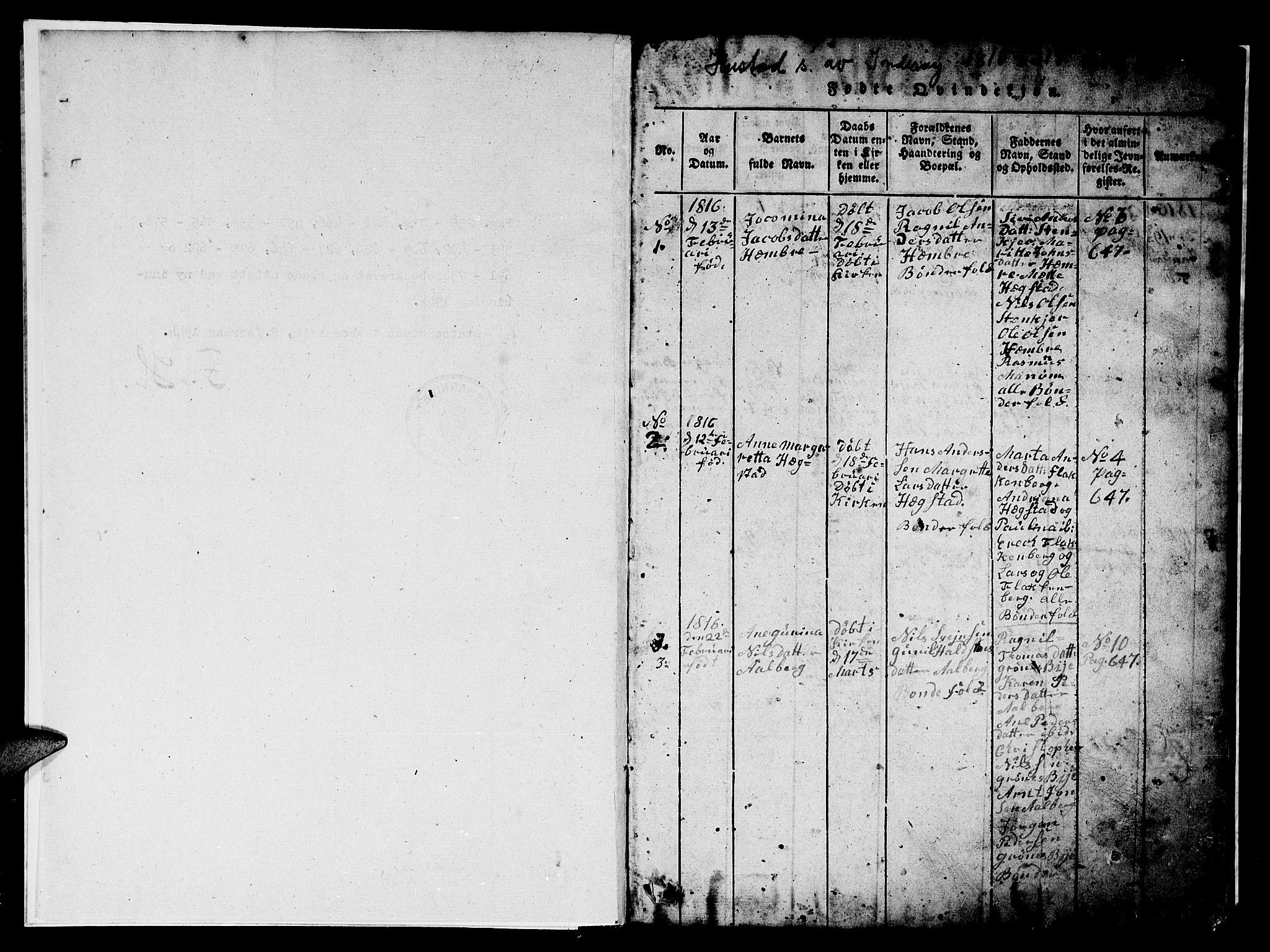 SAT, Ministerialprotokoller, klokkerbøker og fødselsregistre - Nord-Trøndelag, 732/L0317: Parish register (copy) no. 732C01, 1816-1881, p. 0-1