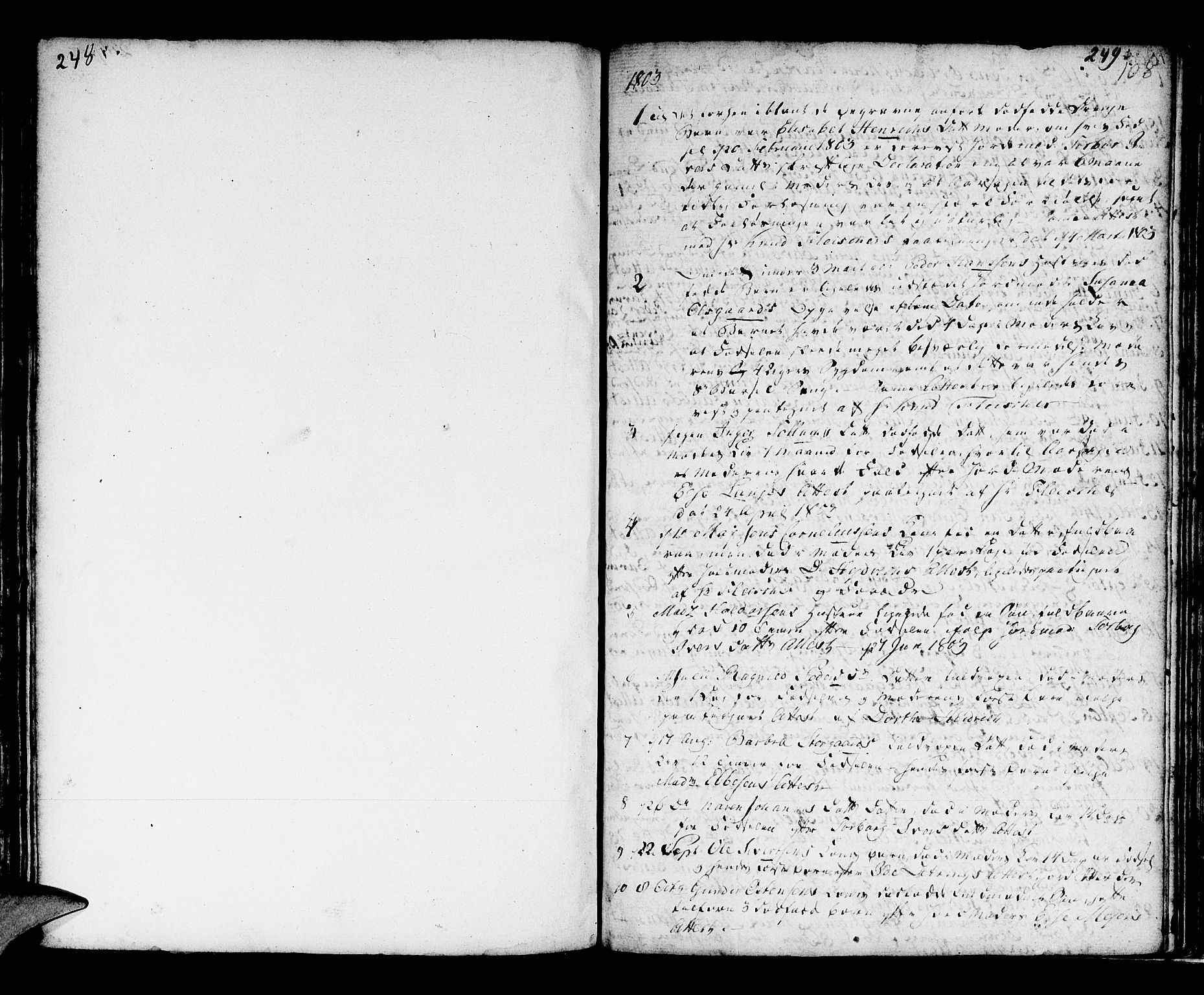 SAB, Domkirken Sokneprestembete, H/Haa/L0009: Parish register (official) no. A 9, 1776-1821, p. 248-249