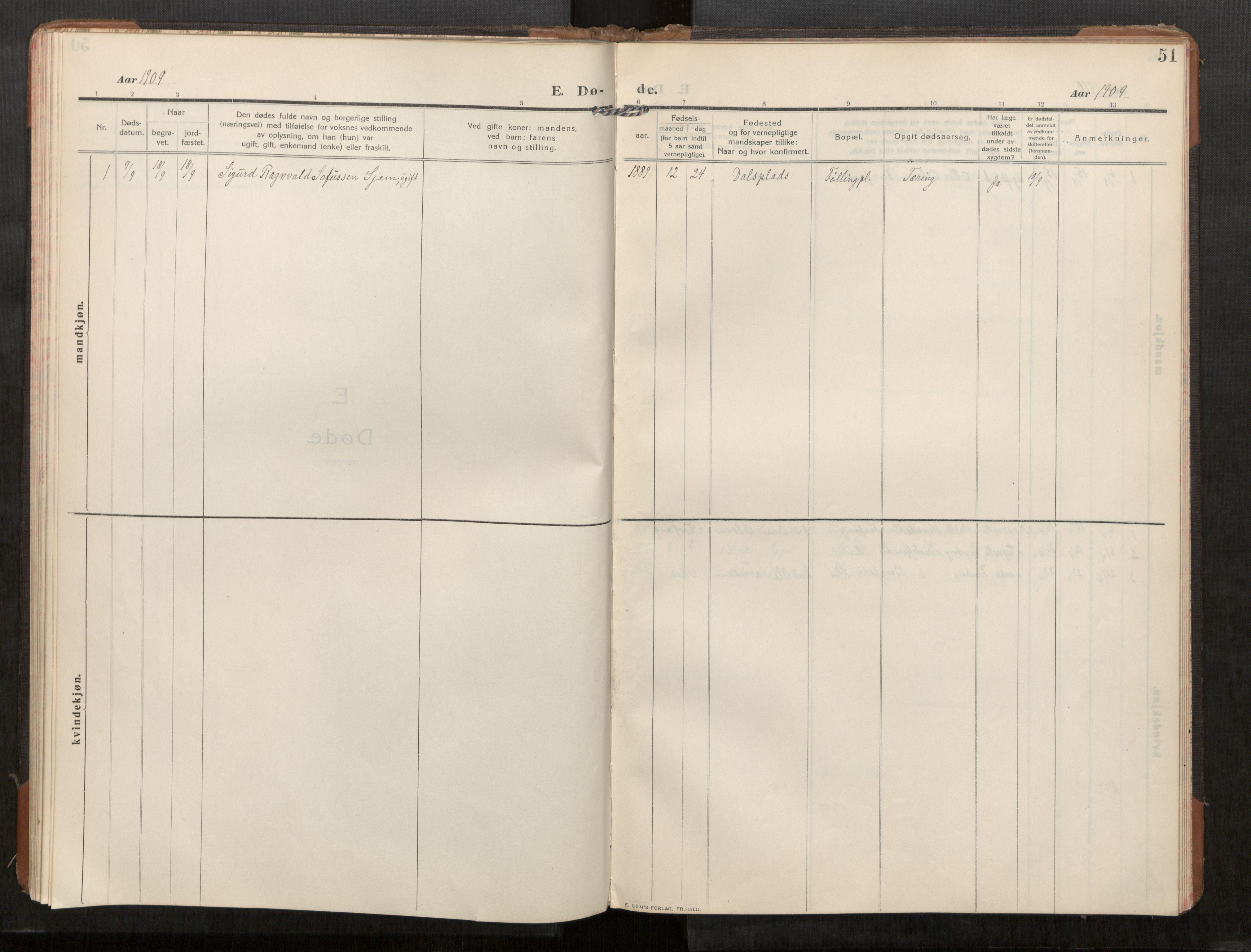 SAT, Stod sokneprestkontor, I/I1/I1a/L0003: Parish register (official) no. 3, 1909-1934, p. 51