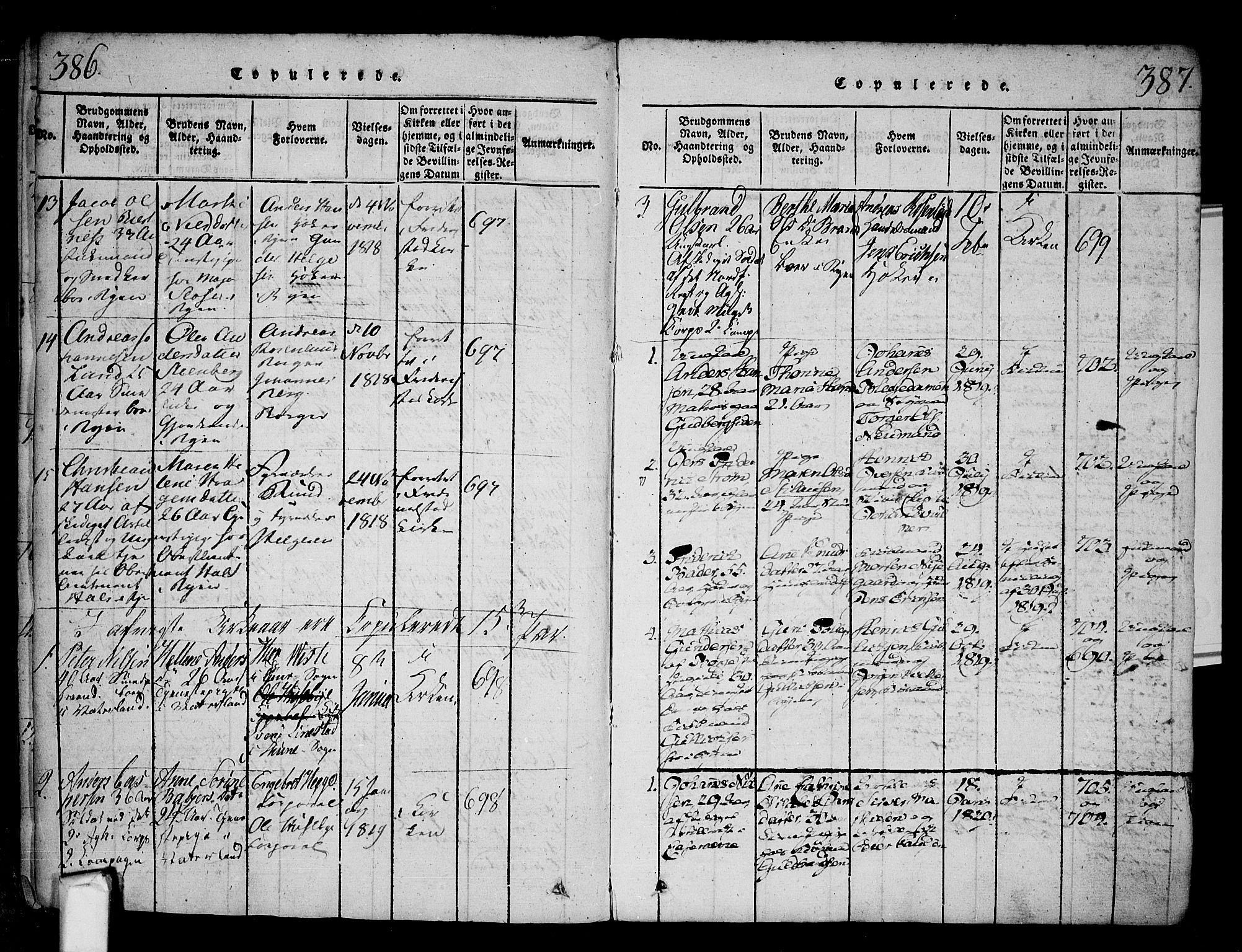 SAO, Fredrikstad prestekontor Kirkebøker, F/Fa/L0004: Parish register (official) no. 4, 1816-1834, p. 386-387