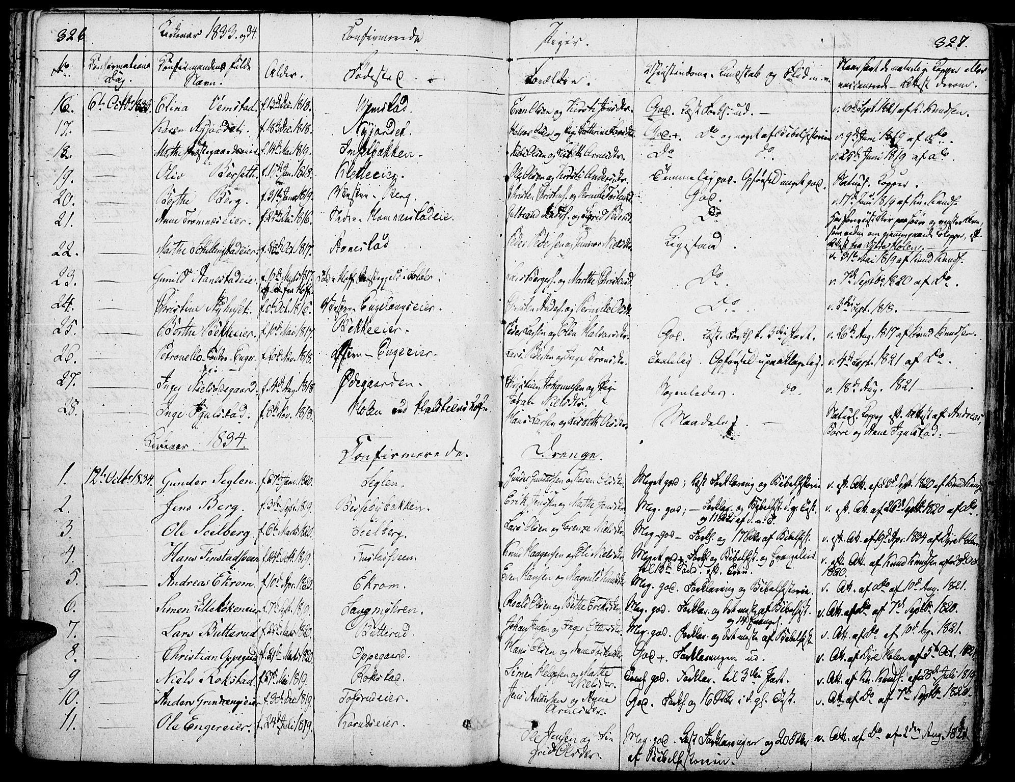 SAH, Løten prestekontor, K/Ka/L0006: Parish register (official) no. 6, 1832-1849, p. 326-327