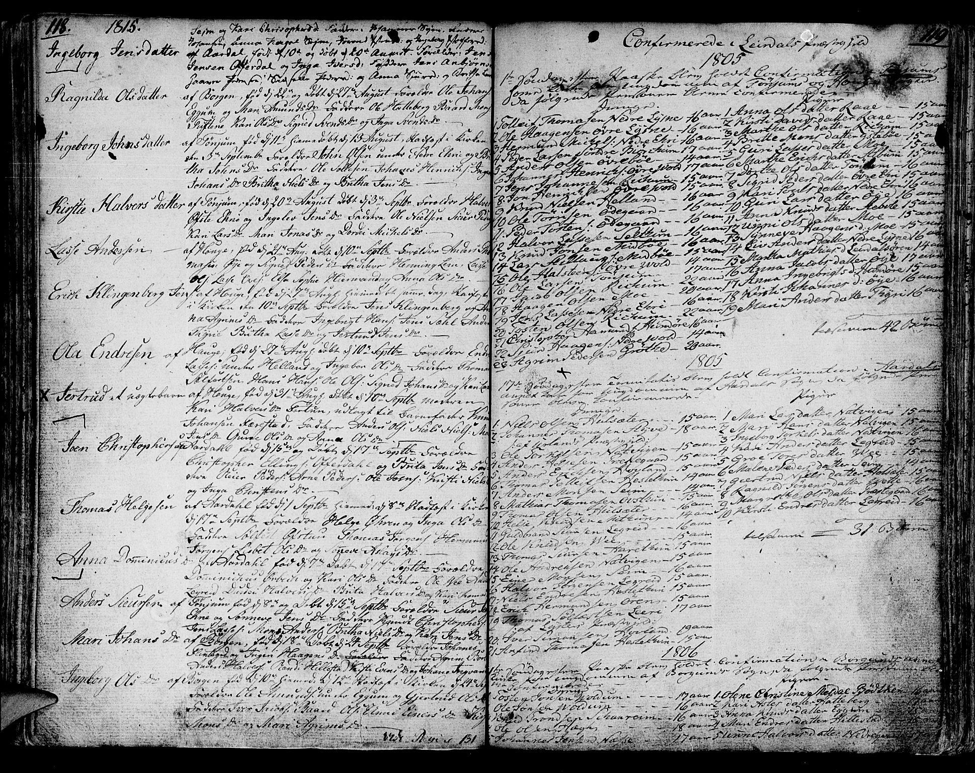 SAB, Lærdal sokneprestembete, Parish register (official) no. A 4, 1805-1821, p. 118-119