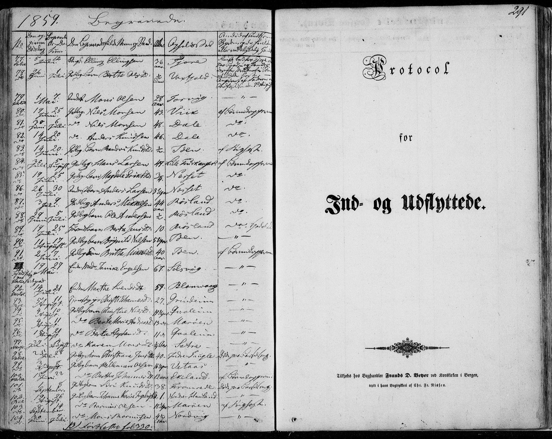 SAB, Manger sokneprestembete, H/Haa: Parish register (official) no. A 6, 1849-1859, p. 291