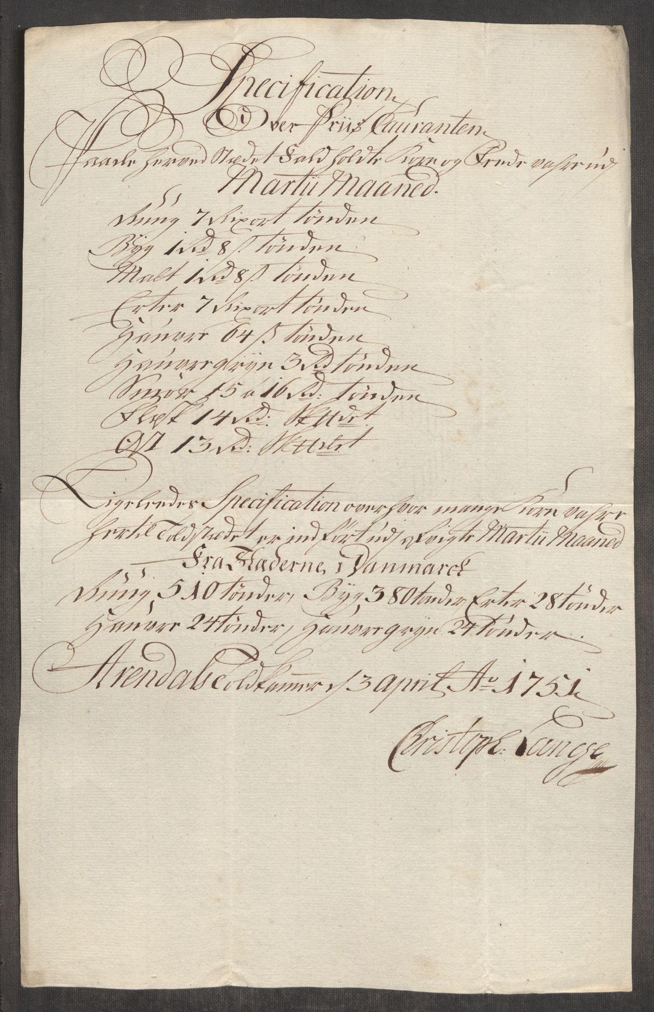 RA, Rentekammeret inntil 1814, Realistisk ordnet avdeling, Oe/L0004: [Ø1]: Priskuranter, 1749-1752, p. 672