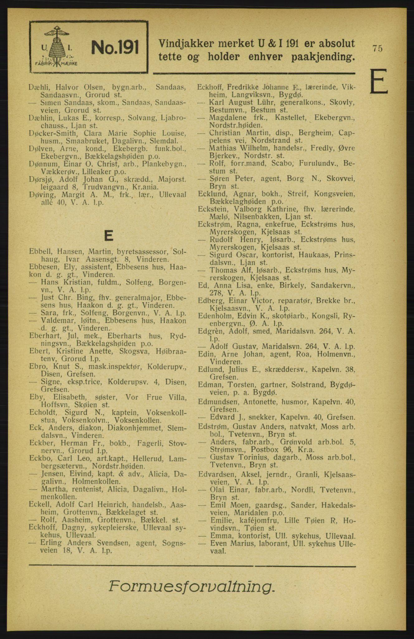 RA, Aker adressebok/adressekalender (publikasjon)*, 1922, p. 75