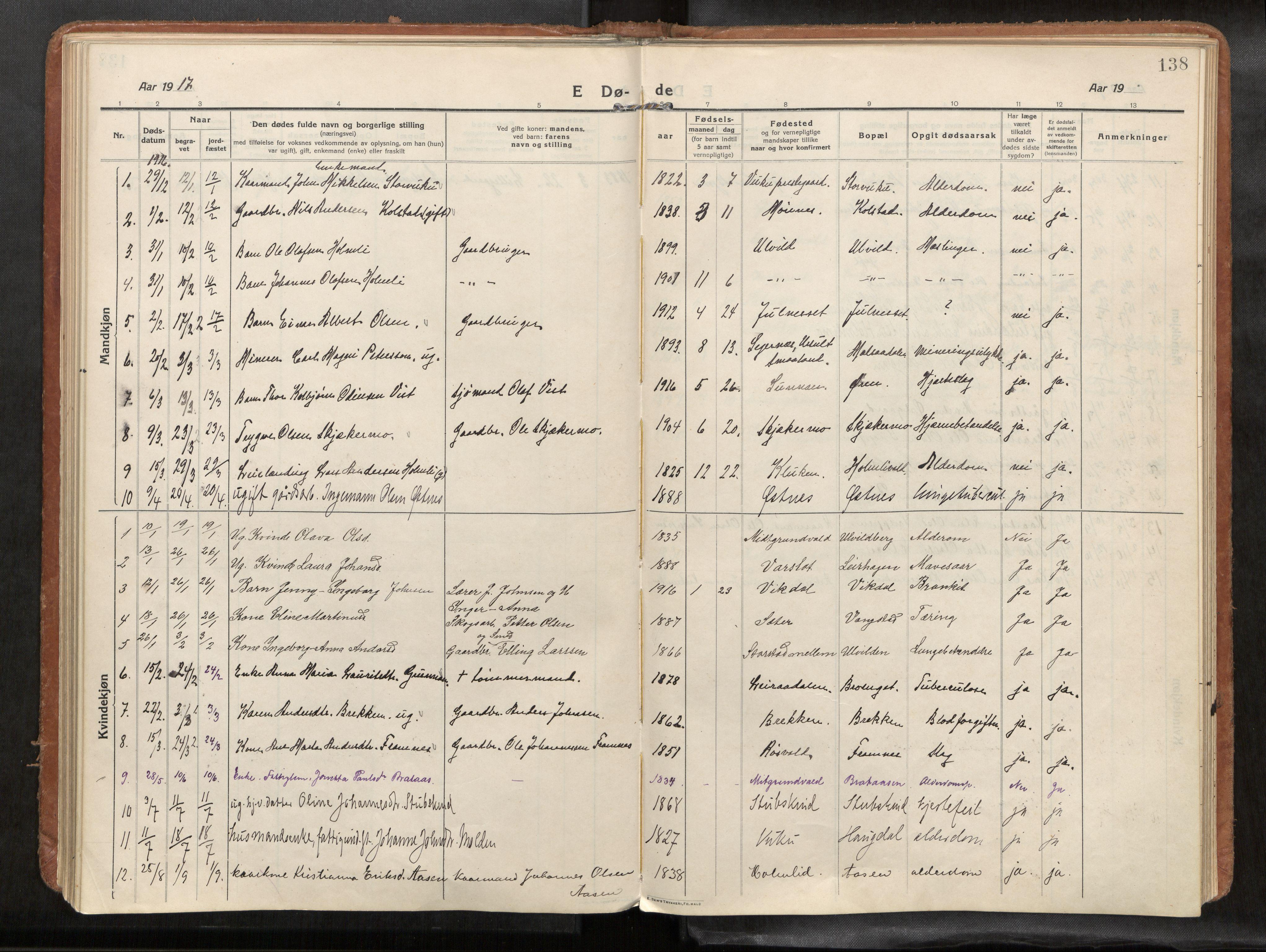 SAT, Verdal sokneprestkontor*, Parish register (official) no. 1, 1916-1928, p. 138