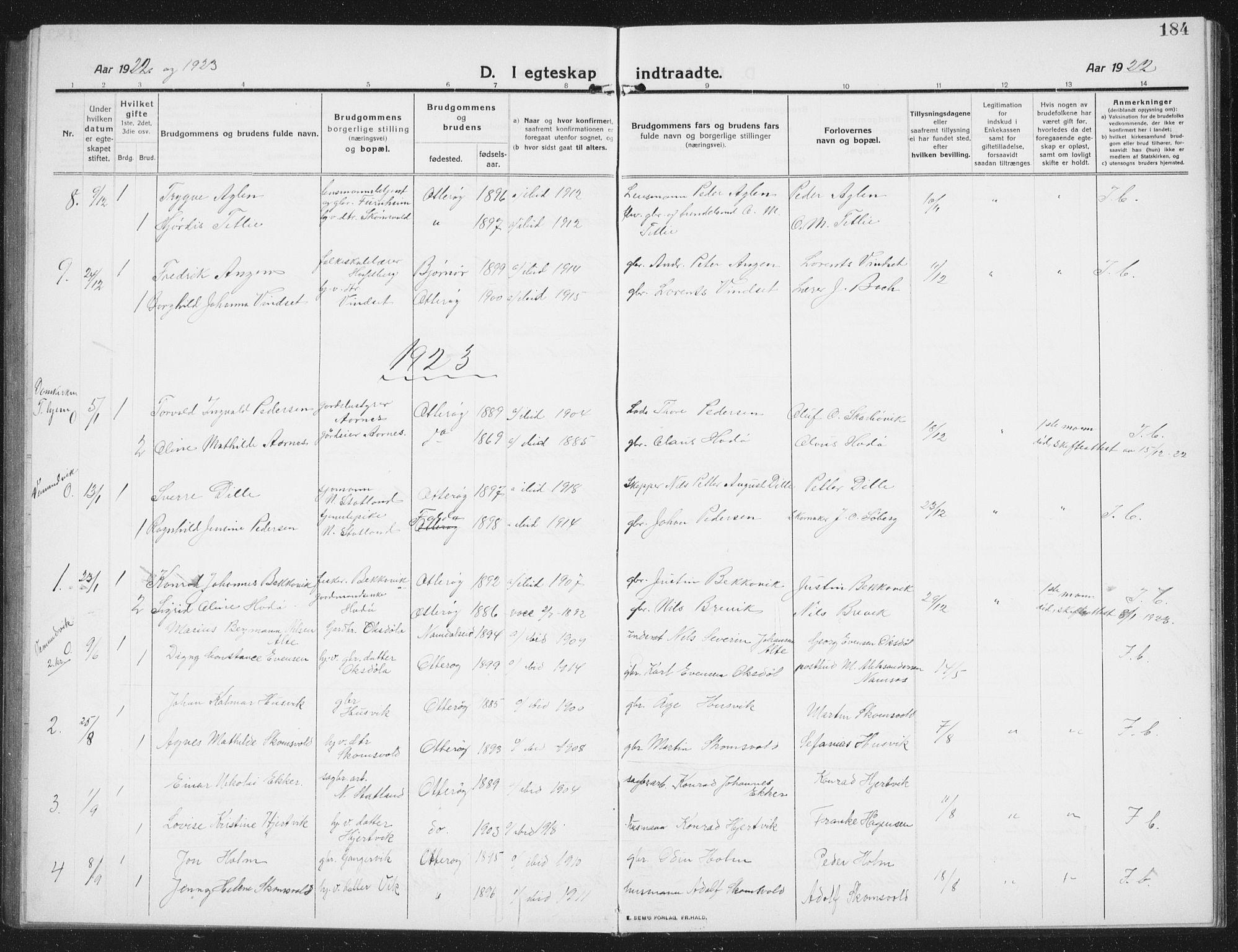 SAT, Ministerialprotokoller, klokkerbøker og fødselsregistre - Nord-Trøndelag, 774/L0630: Parish register (copy) no. 774C01, 1910-1934, p. 184