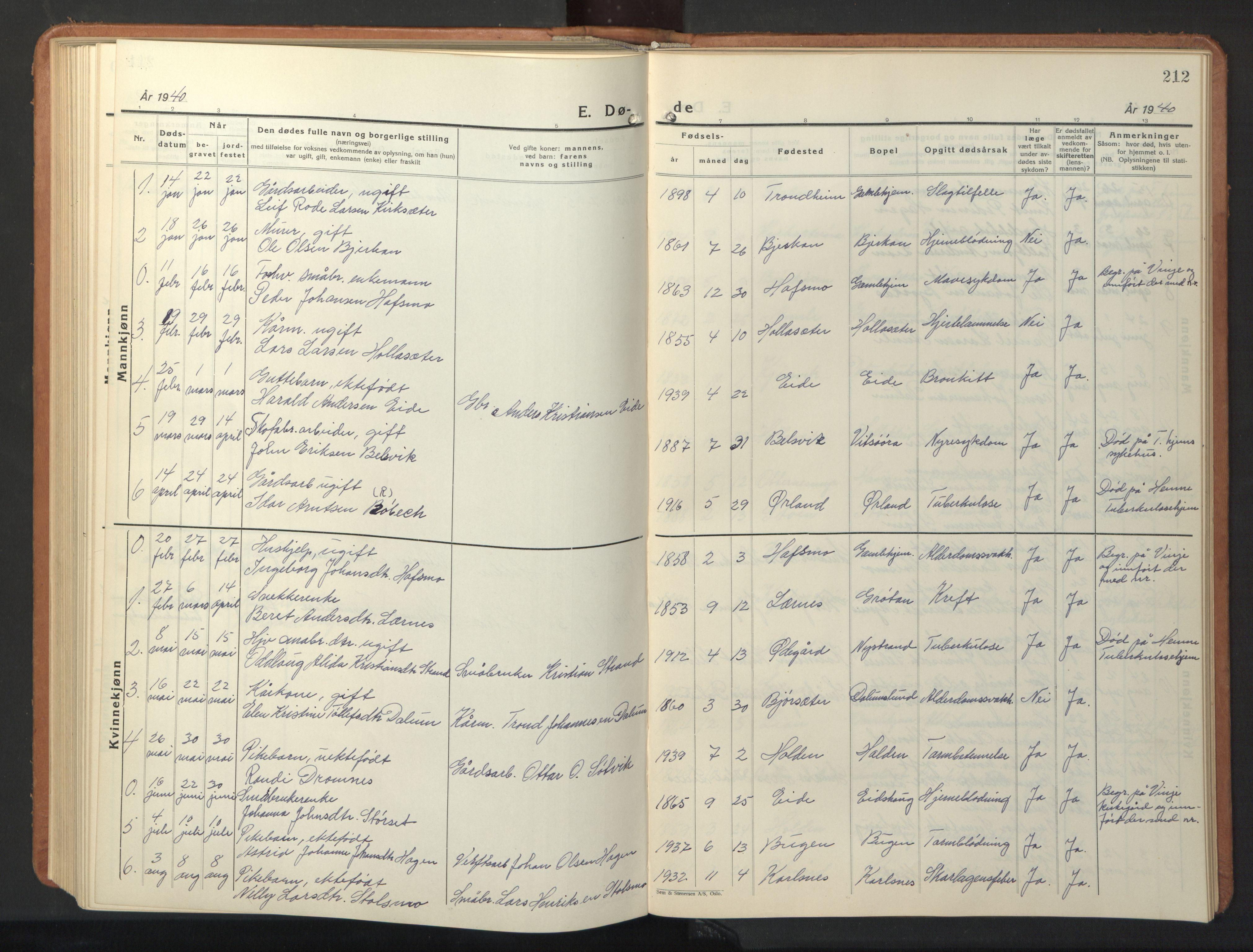 SAT, Ministerialprotokoller, klokkerbøker og fødselsregistre - Sør-Trøndelag, 630/L0508: Parish register (copy) no. 630C06, 1933-1950, p. 212