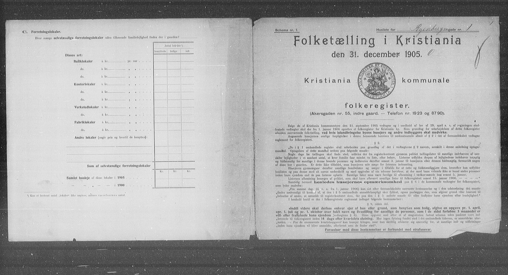 OBA, Municipal Census 1905 for Kristiania, 1905, p. 45141