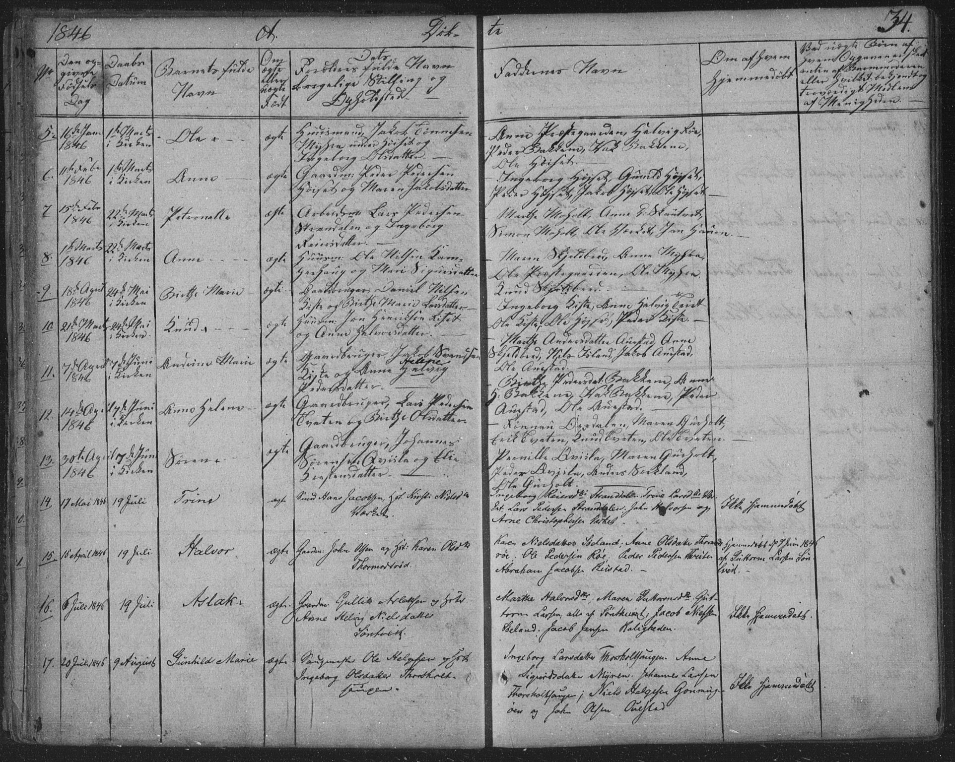 SAKO, Siljan kirkebøker, F/Fa/L0001: Parish register (official) no. 1, 1831-1870, p. 34