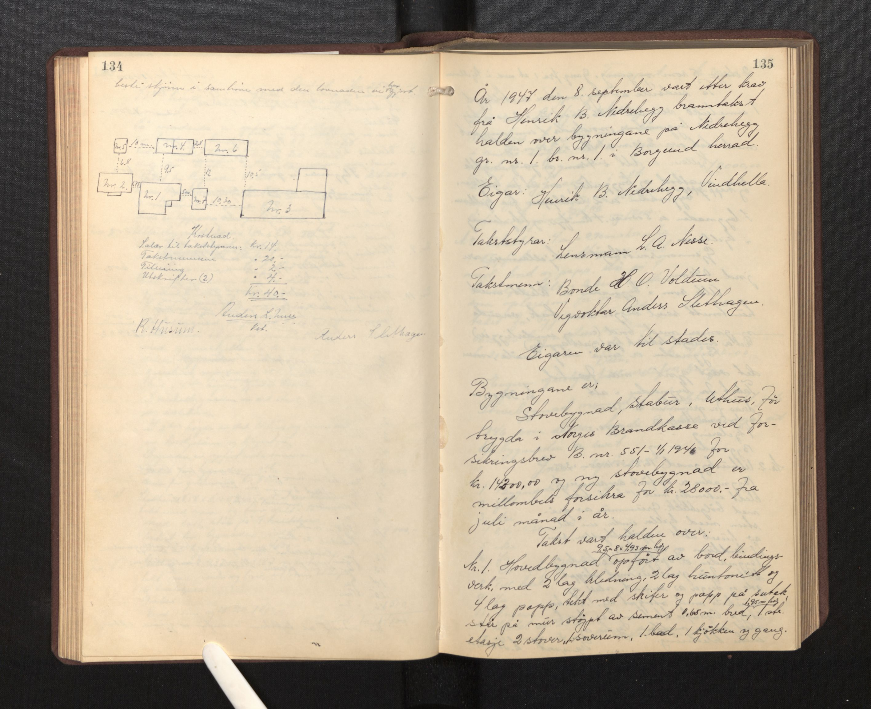 SAB, Lensmannen i Borgund, 0012/L0002: Branntakstprotokoll, 1929-1933, p. 134-135