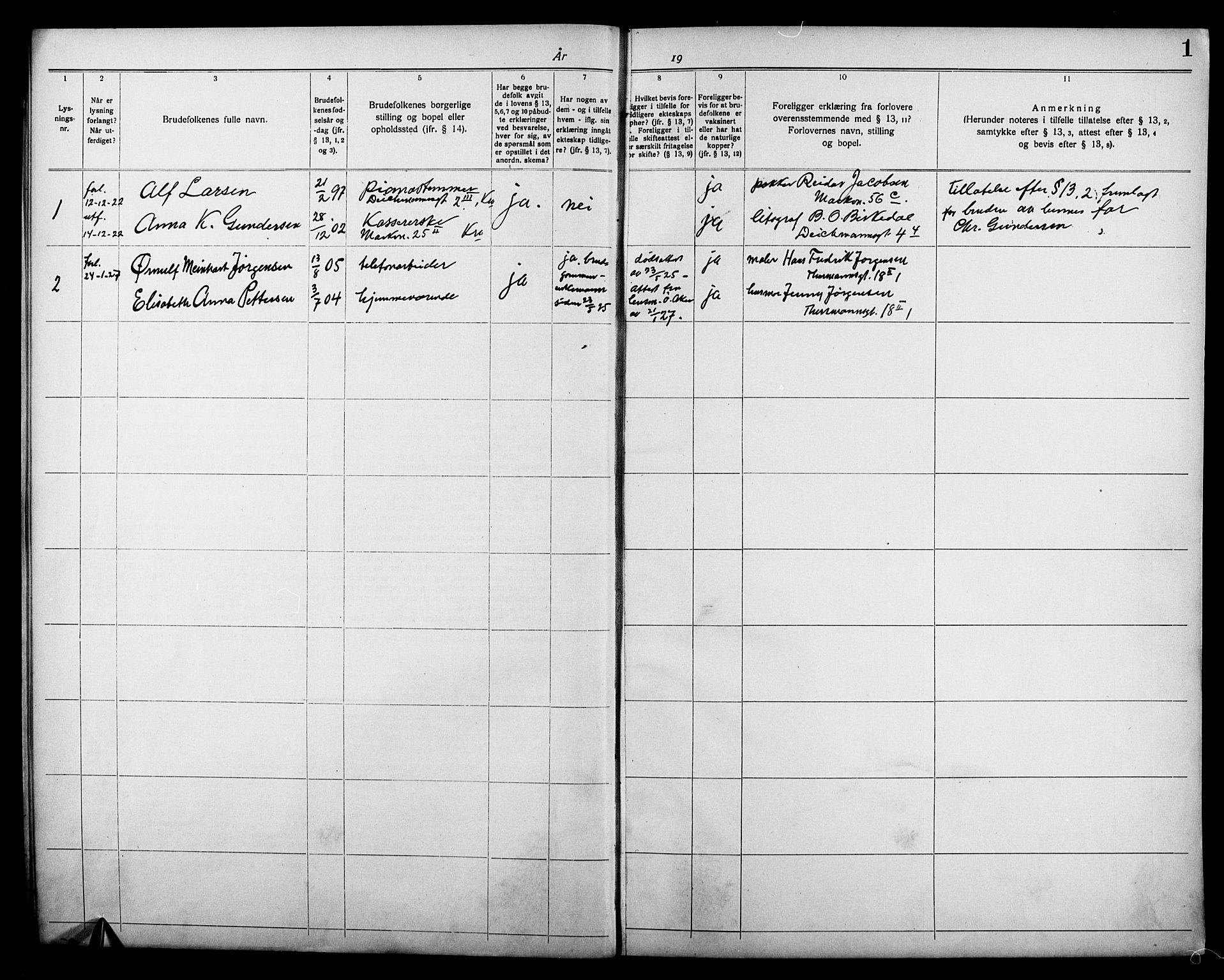 SAO, Broderskapets kirke Oslo , D/L0001: Marriage register (dissenter) no. 1, 1922-1927, p. 1