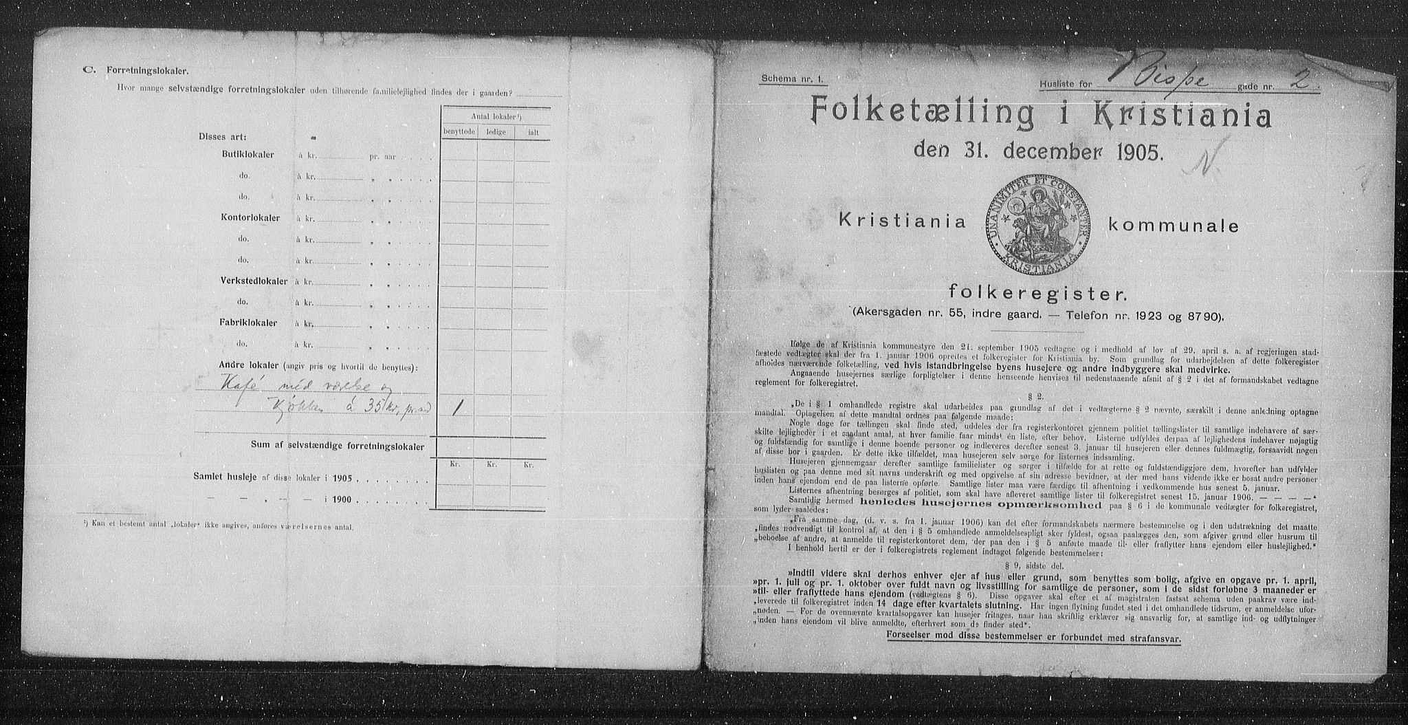 OBA, Municipal Census 1905 for Kristiania, 1905, p. 2516