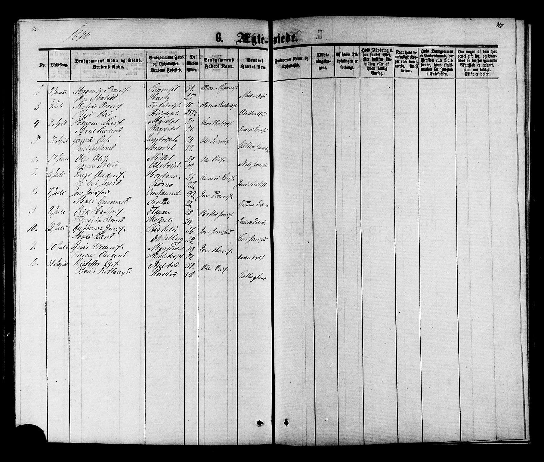 SAT, Ministerialprotokoller, klokkerbøker og fødselsregistre - Nord-Trøndelag, 703/L0038: Parish register (copy) no. 703C01, 1864-1870, p. 317
