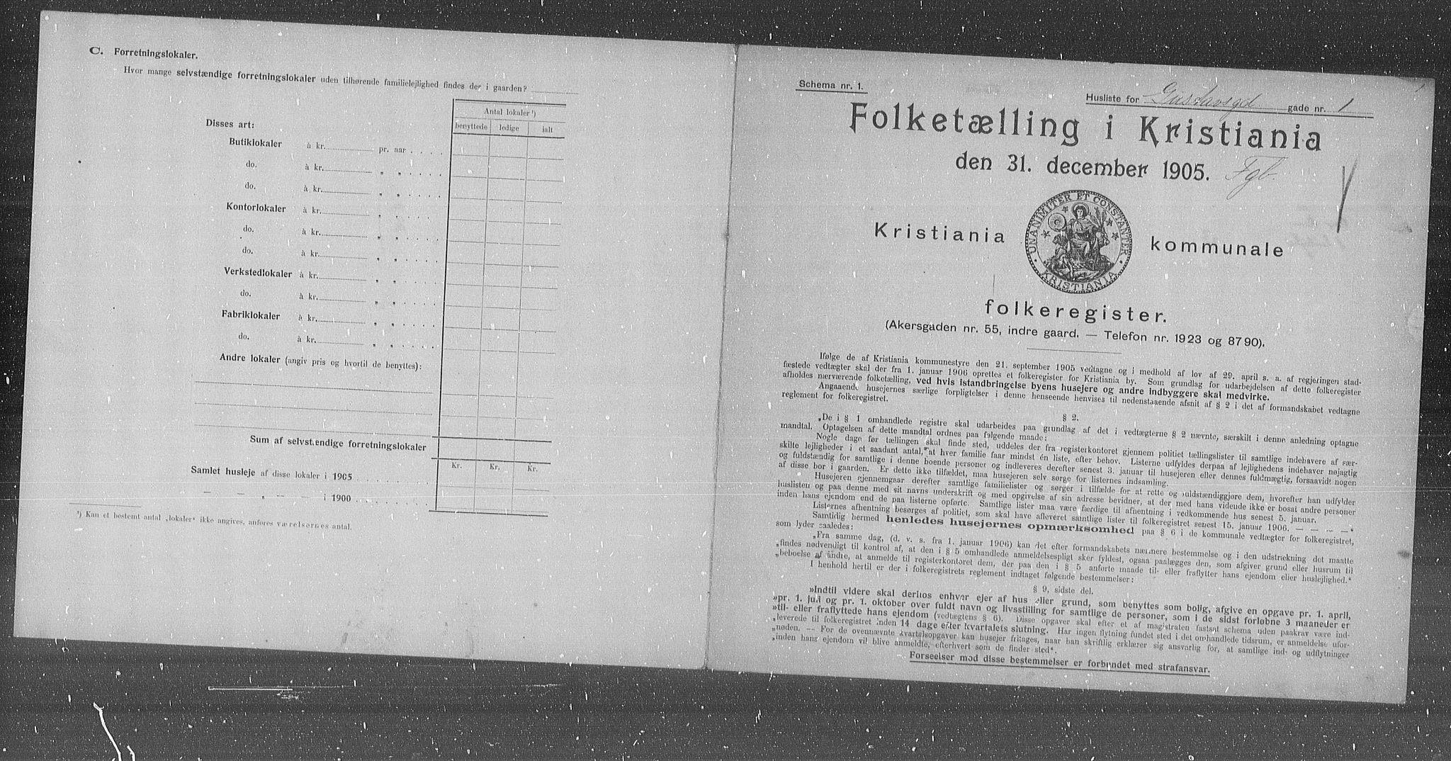 OBA, Municipal Census 1905 for Kristiania, 1905, p. 17061