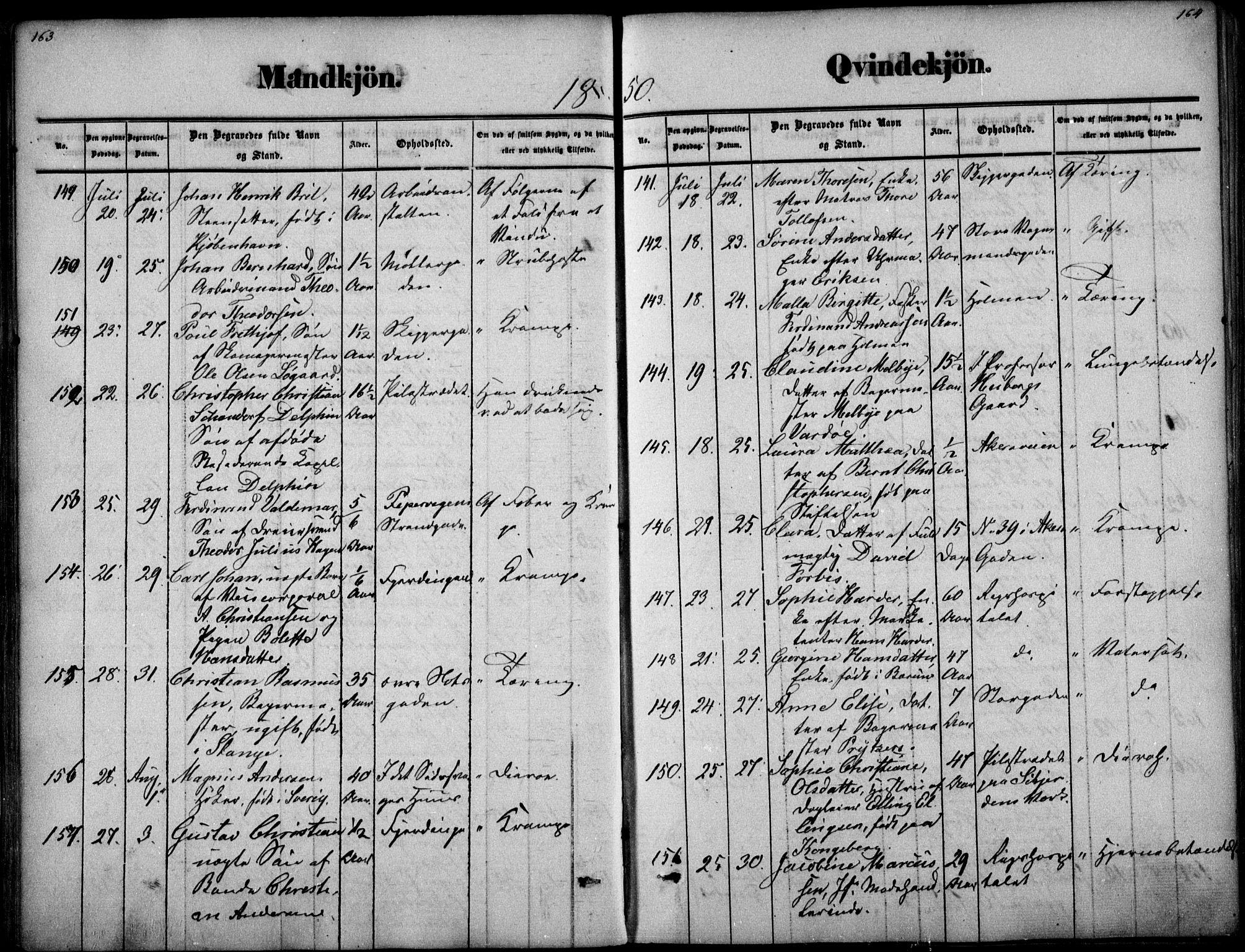 SAO, Oslo domkirke Kirkebøker, F/Fa/L0025: Parish register (official) no. 25, 1847-1867, p. 163-164