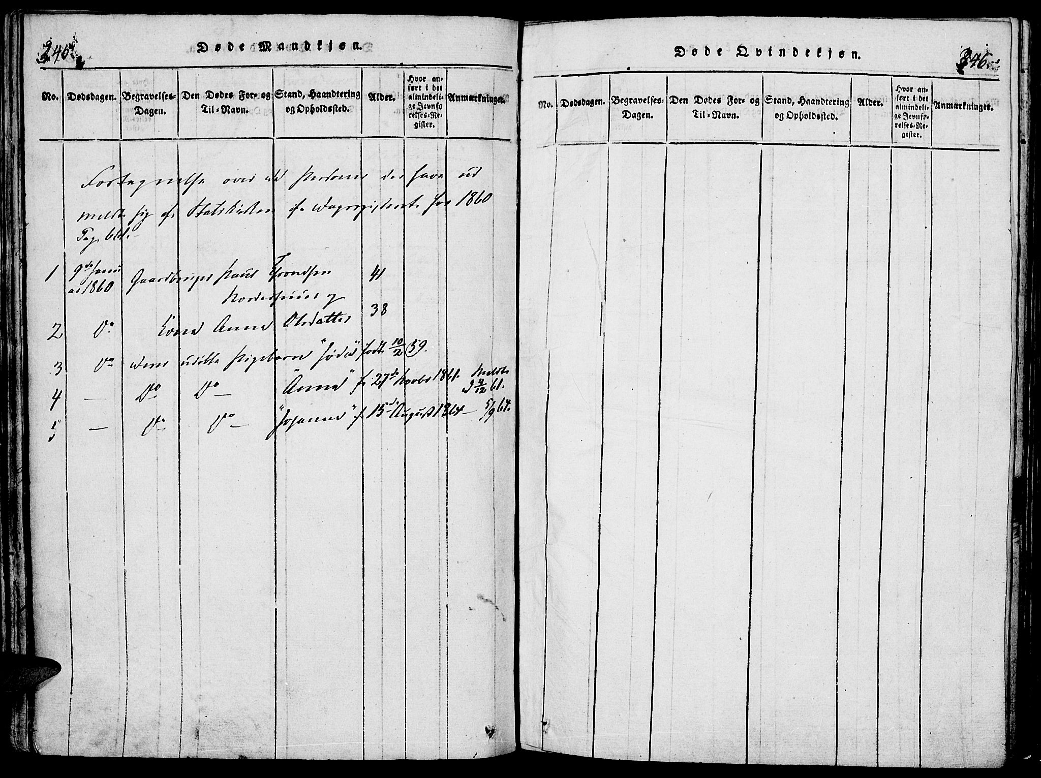 SAH, Lesja prestekontor, Parish register (official) no. 4, 1820-1829, p. 345-346