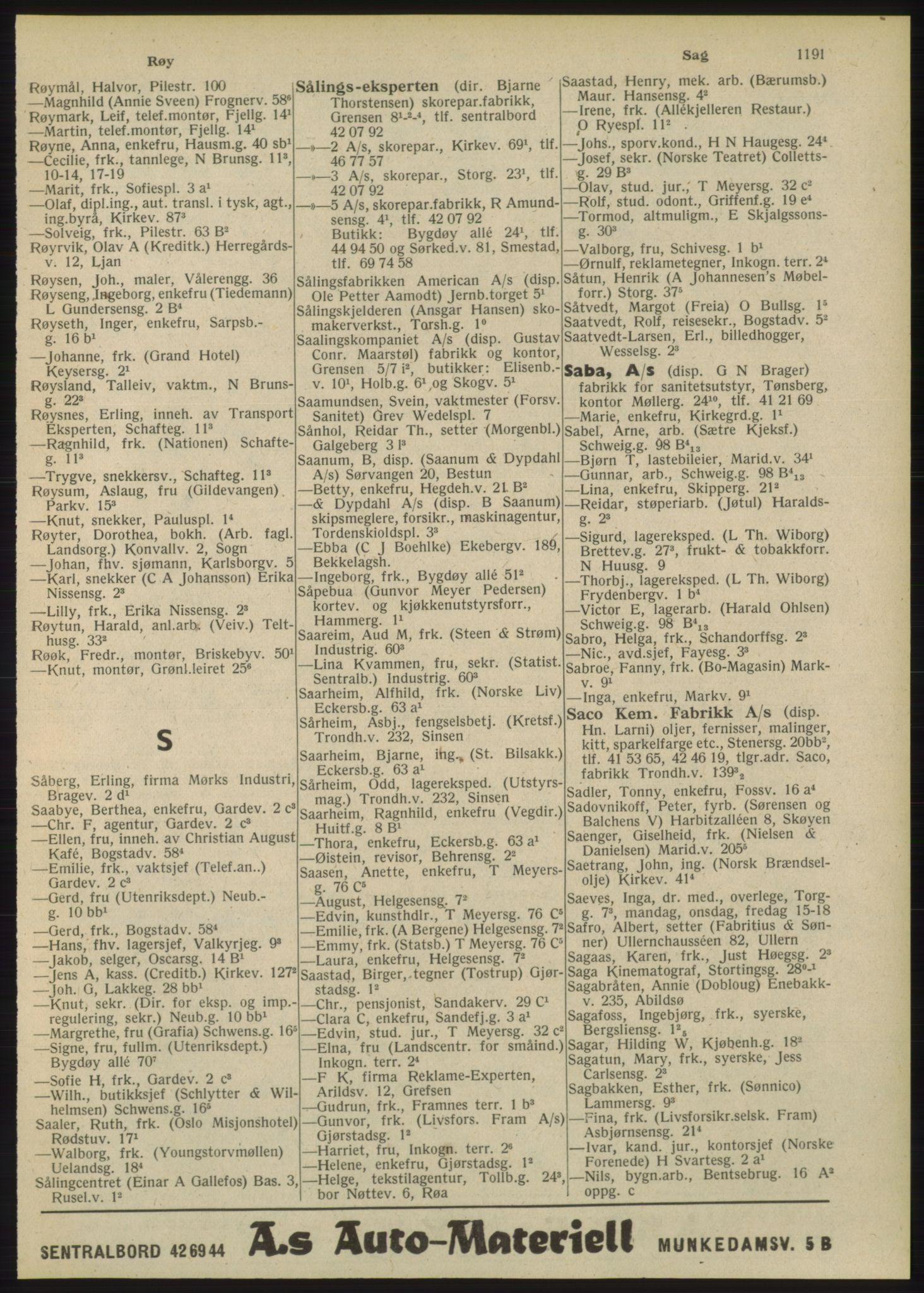 PUBL, Kristiania/Oslo adressebok, 1948, p. 1191