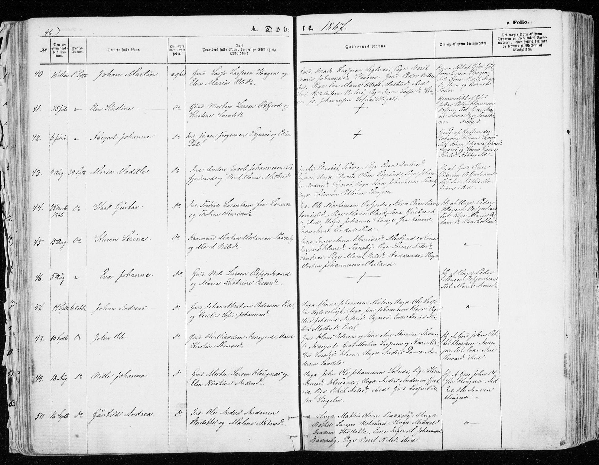 SATØ, Skjervøy sokneprestkontor, H/Ha/Haa/L0007kirke: Parish register (official) no. 7, 1860-1870, p. 46