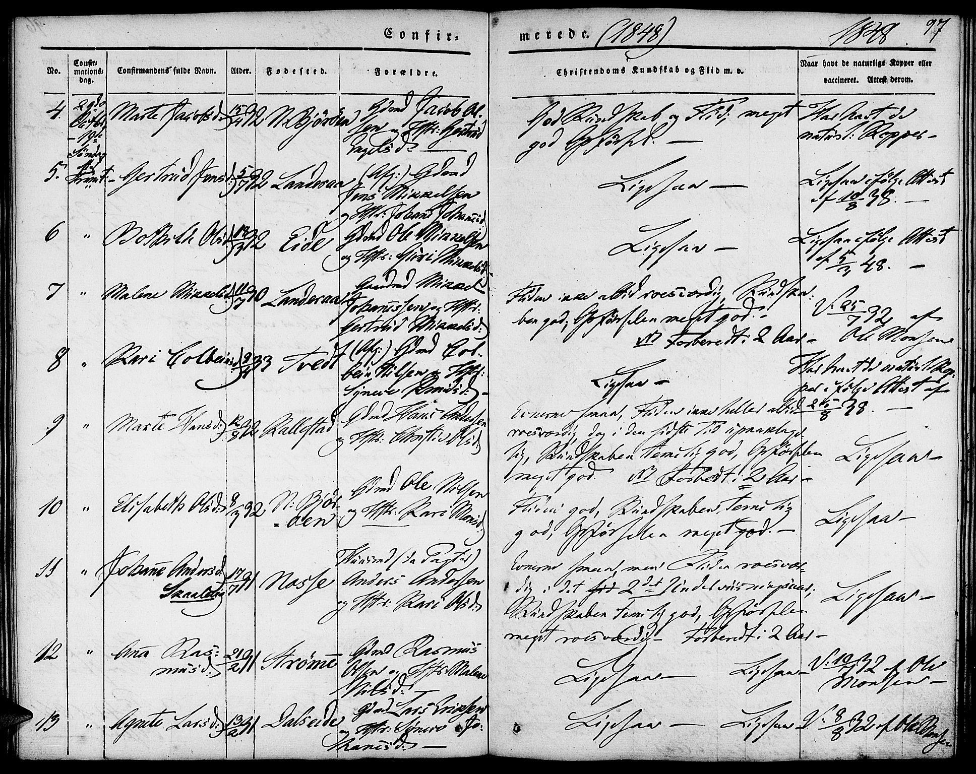 SAB, Fjell Sokneprestembete, H/Haa: Parish register (official) no. A 1, 1835-1850, p. 97