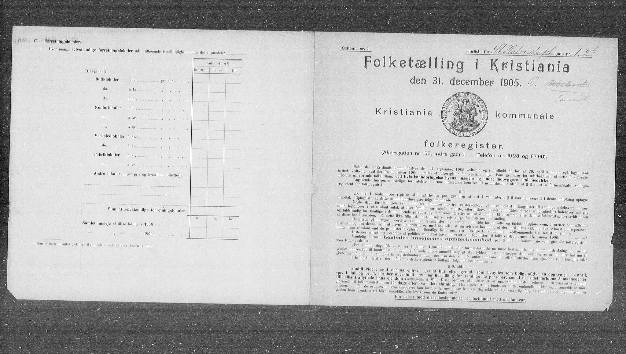OBA, Municipal Census 1905 for Kristiania, 1905, p. 53196