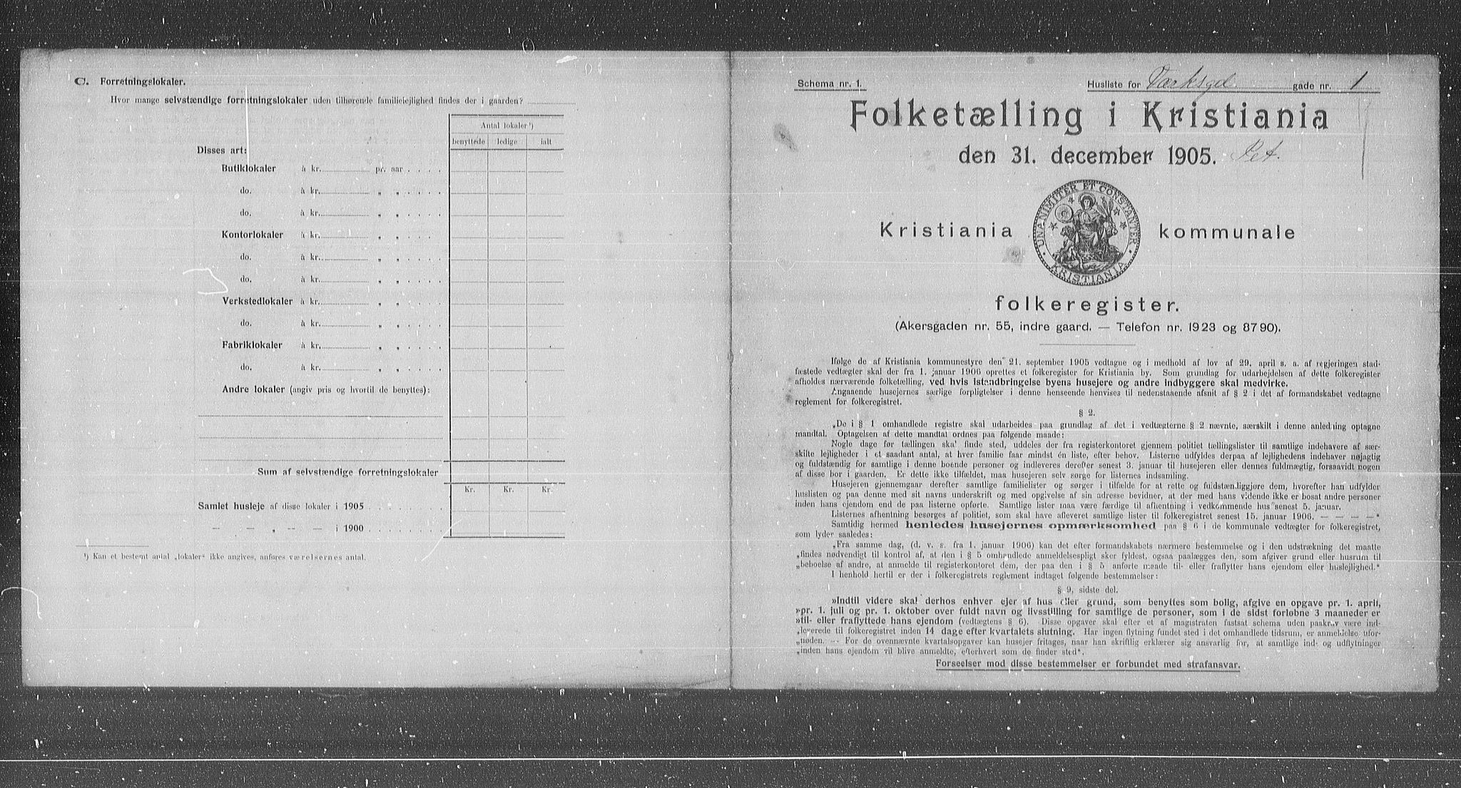 OBA, Municipal Census 1905 for Kristiania, 1905, p. 64933