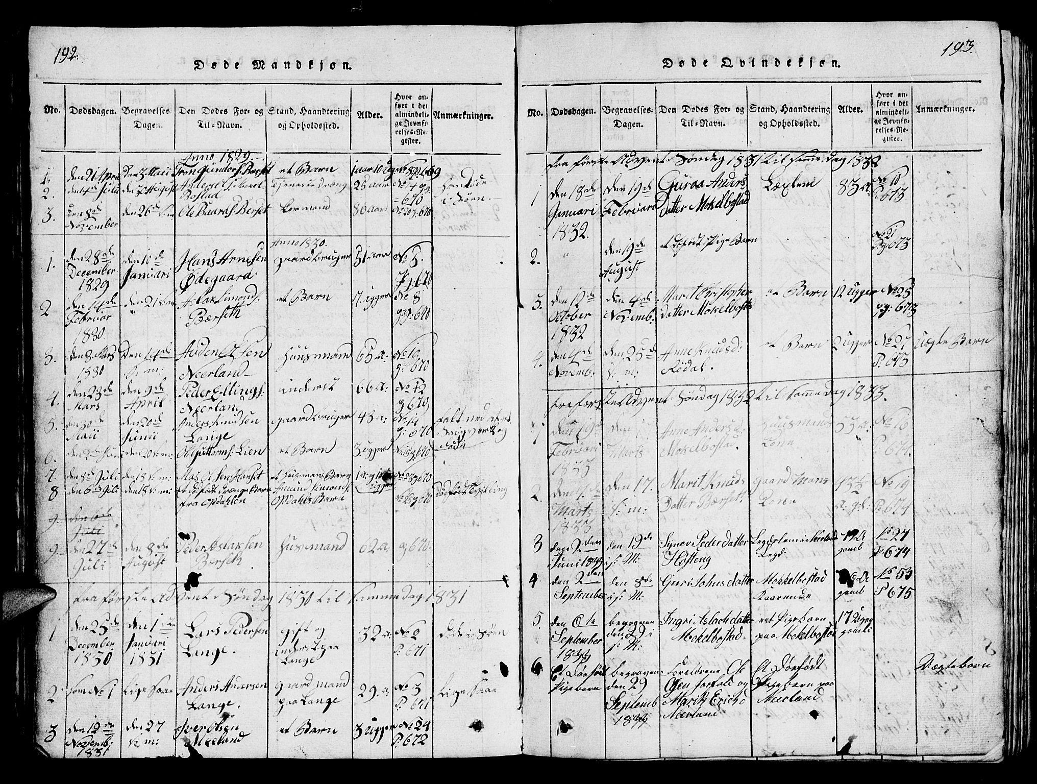 SAT, Ministerialprotokoller, klokkerbøker og fødselsregistre - Møre og Romsdal, 554/L0644: Parish register (copy) no. 554C01, 1818-1851, p. 192-193