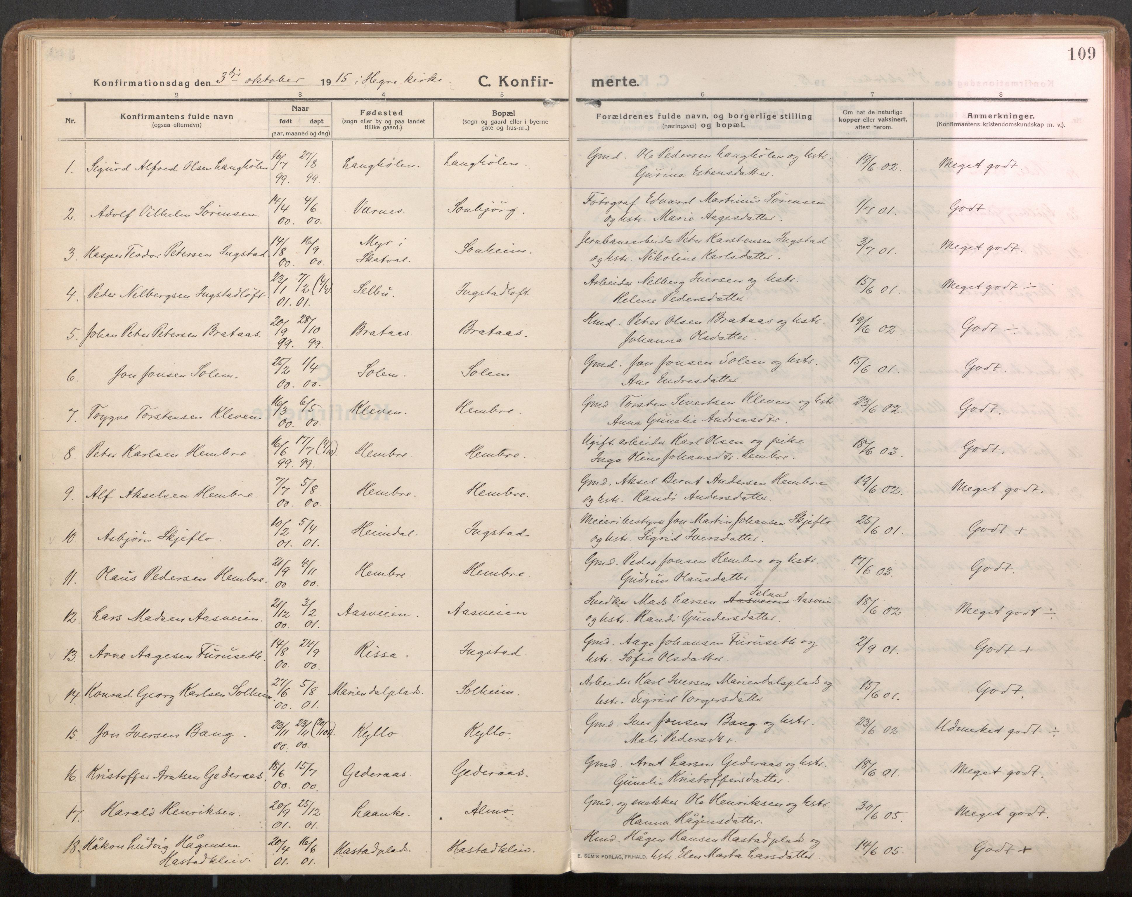 SAT, Ministerialprotokoller, klokkerbøker og fødselsregistre - Nord-Trøndelag, 703/L0037: Parish register (official) no. 703A10, 1915-1932, p. 109
