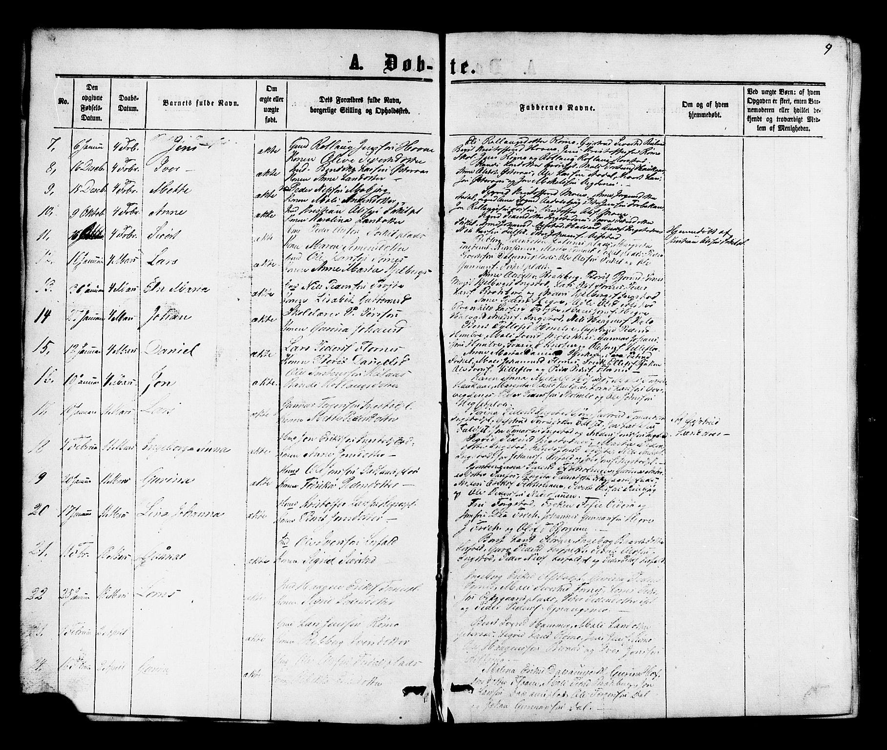 SAT, Ministerialprotokoller, klokkerbøker og fødselsregistre - Nord-Trøndelag, 703/L0038: Parish register (copy) no. 703C01, 1864-1870, p. 9