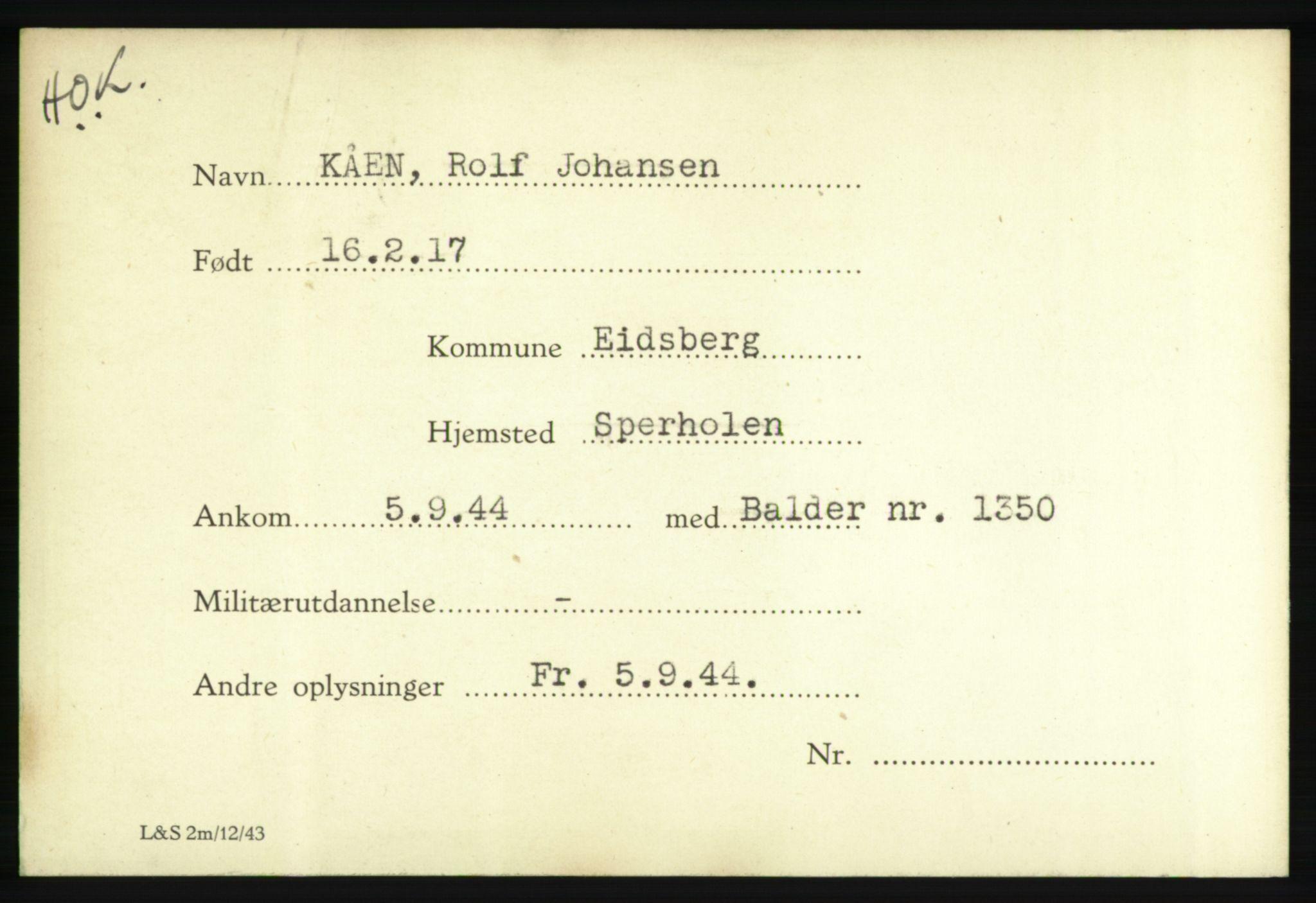 NHM, Forsvarets Overkommando. 2. kontor. Arkiv 8.1. Mottakersentralen FDE og FO.II, P/Pa/L0011: Kortsamling, 1940-1945, p. 1