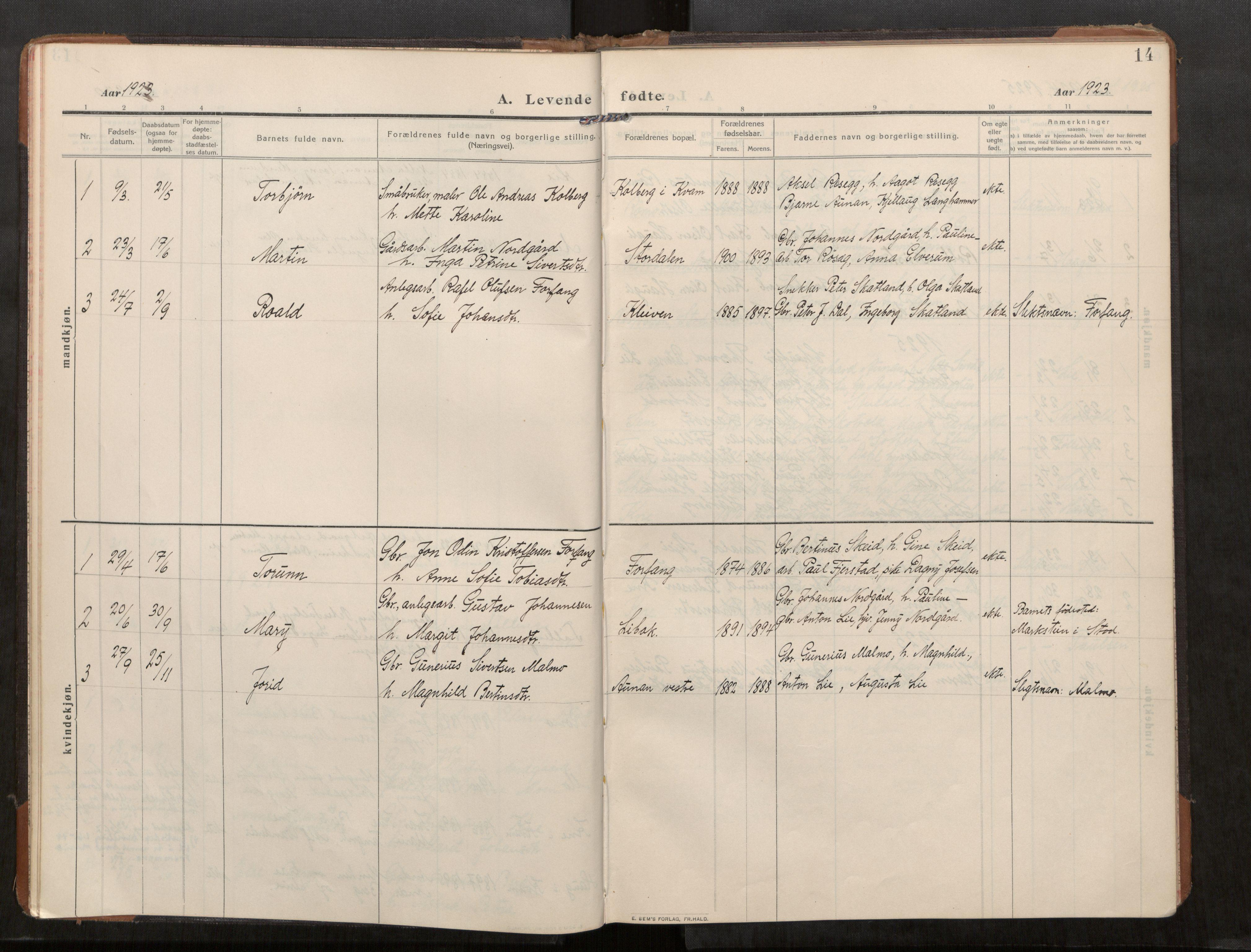 SAT, Stod sokneprestkontor, I/I1/I1a/L0003: Parish register (official) no. 3, 1909-1934, p. 14
