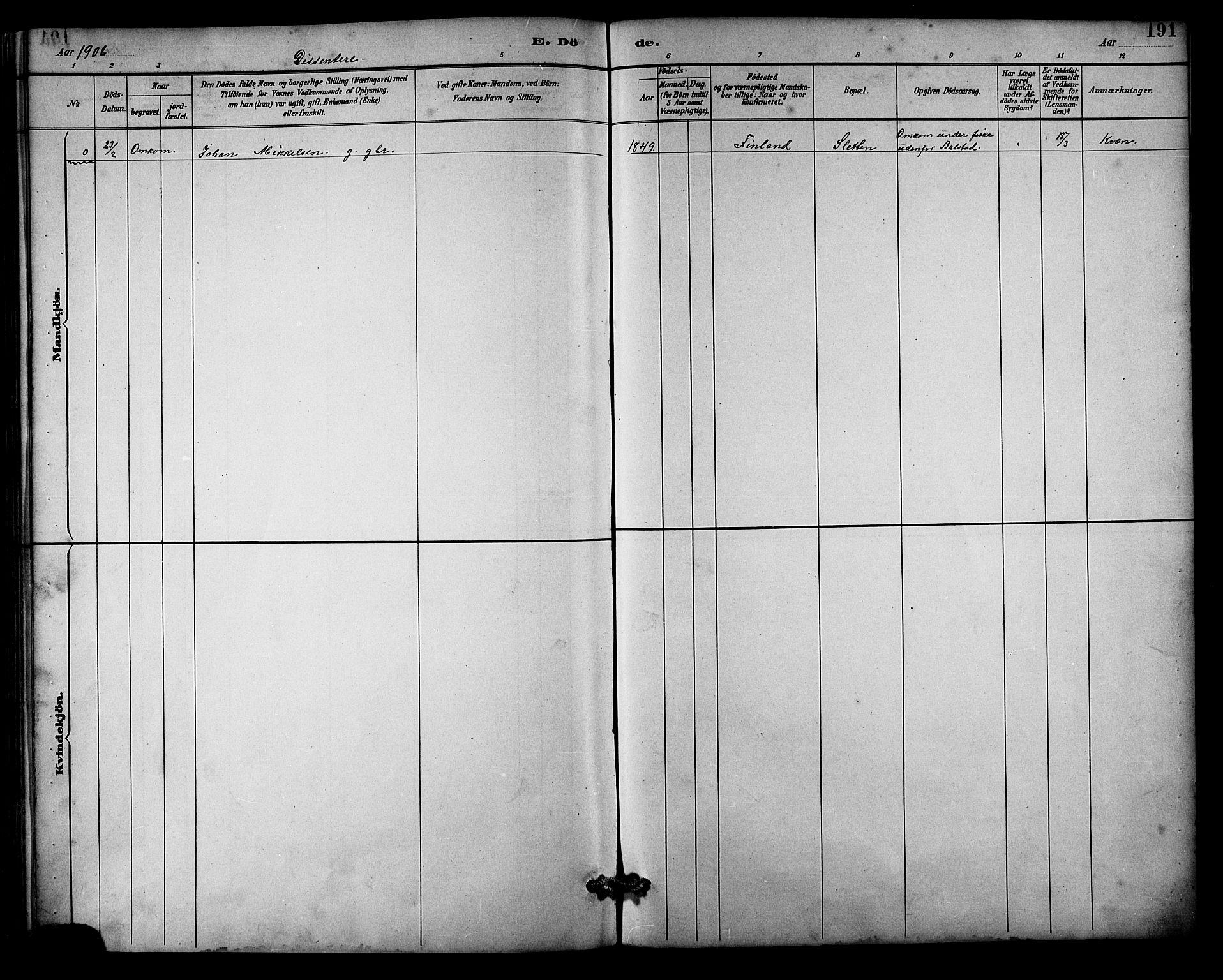SATØ, Balsfjord sokneprestembete, Parish register (copy) no. 3, 1887-1909, p. 191