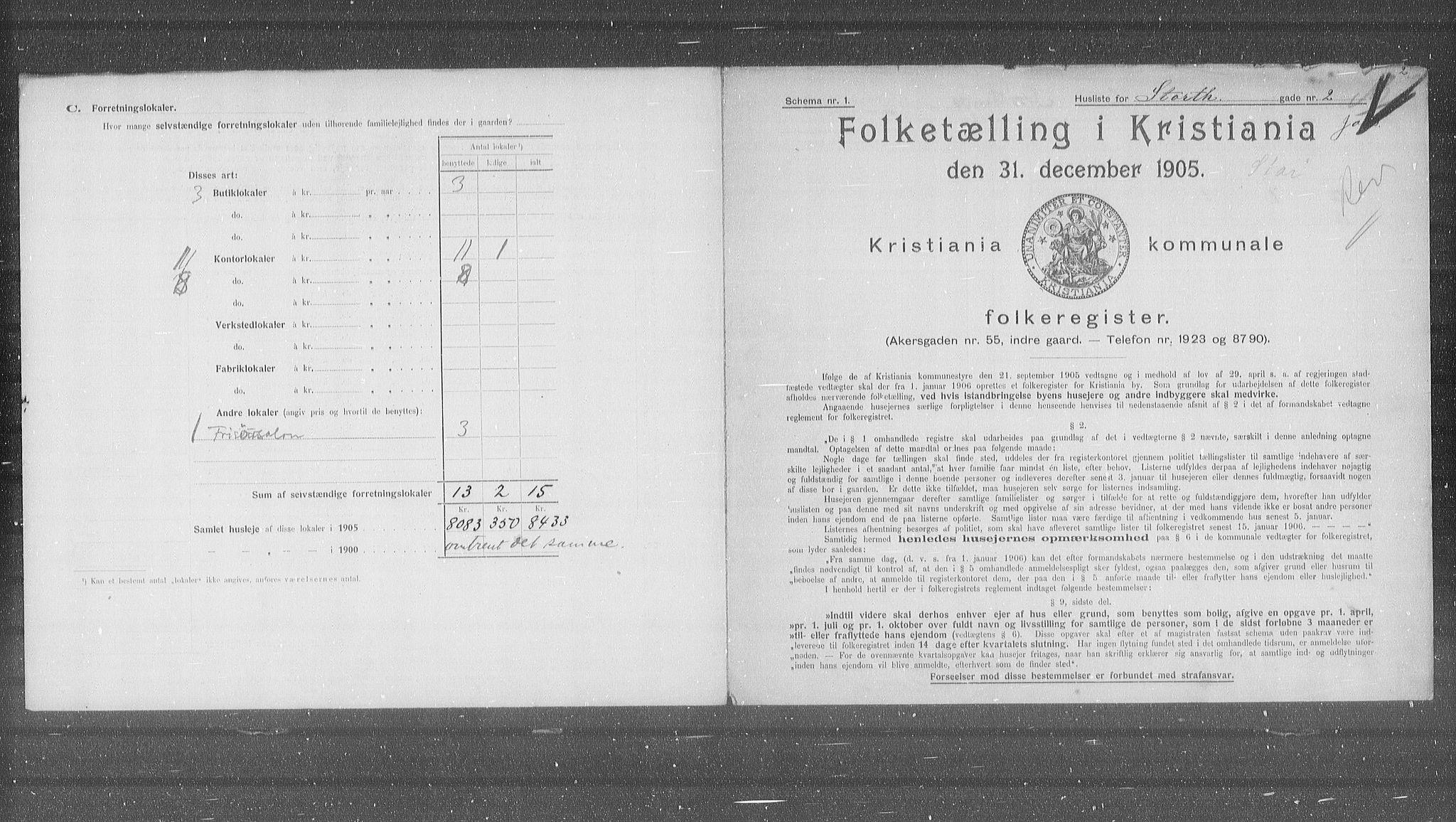 OBA, Municipal Census 1905 for Kristiania, 1905, p. 54186