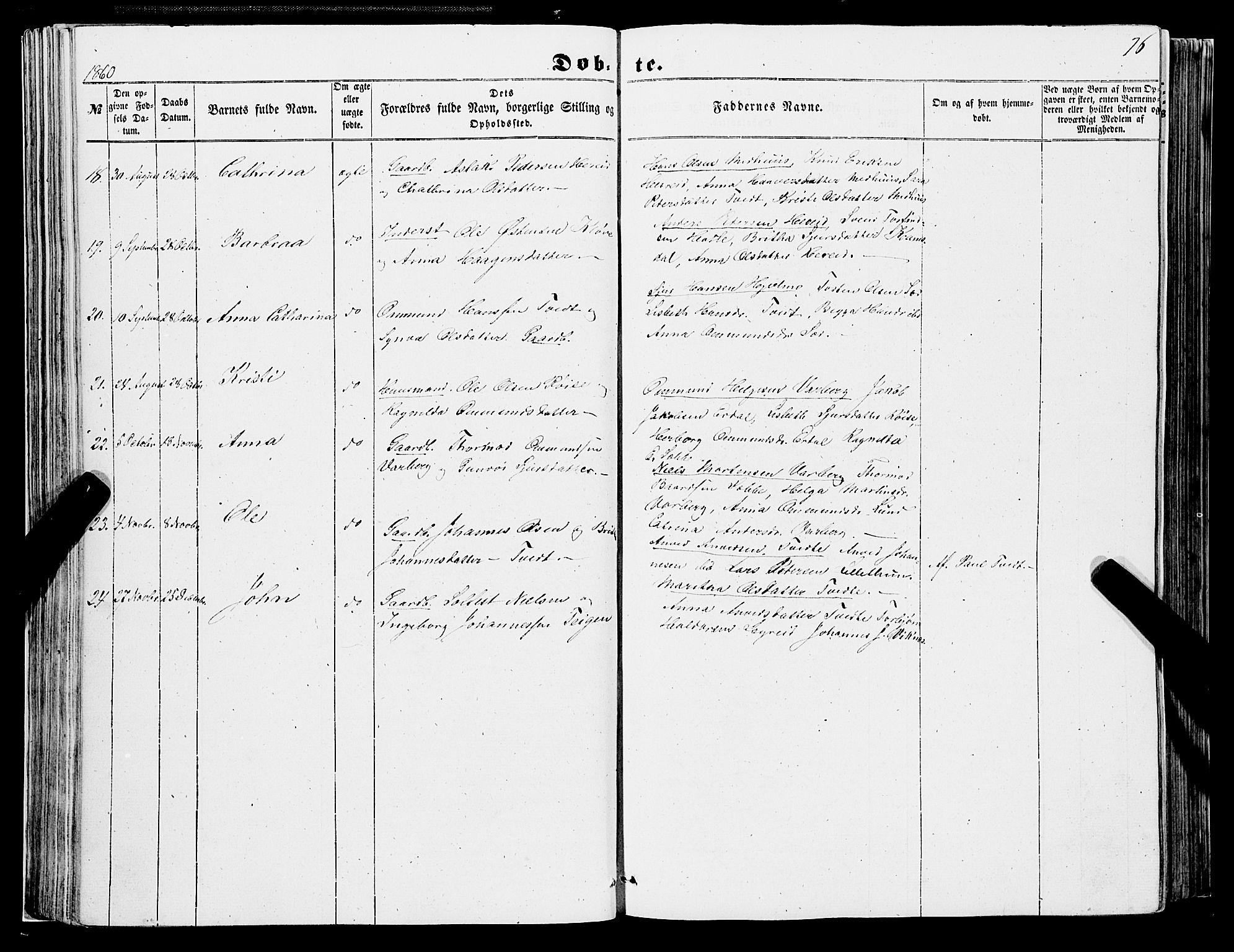 SAB, Ulvik sokneprestembete, H/Haa: Parish register (official) no. A 13, 1853-1863, p. 76