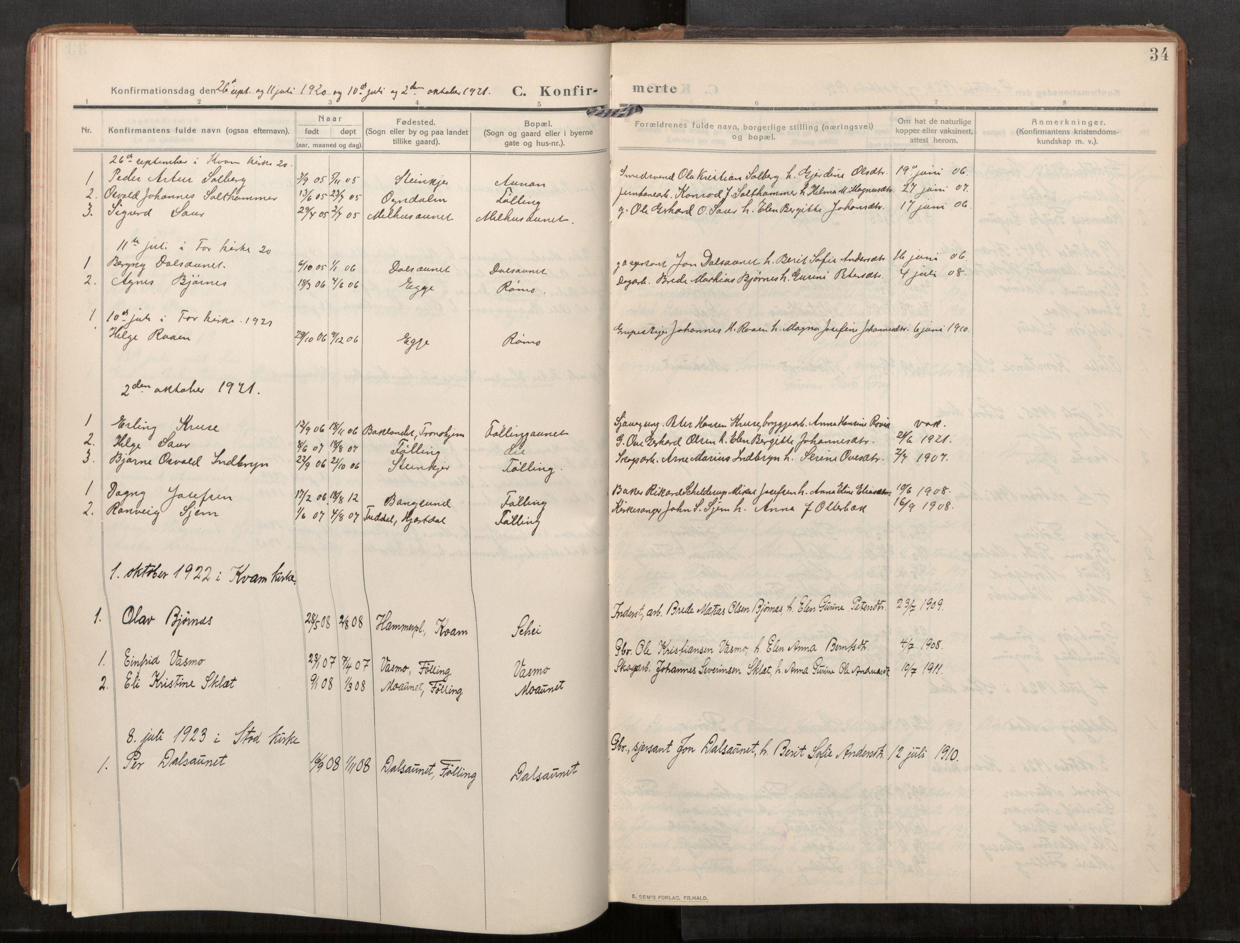 SAT, Stod sokneprestkontor, I/I1/I1a/L0003: Parish register (official) no. 3, 1909-1934, p. 34