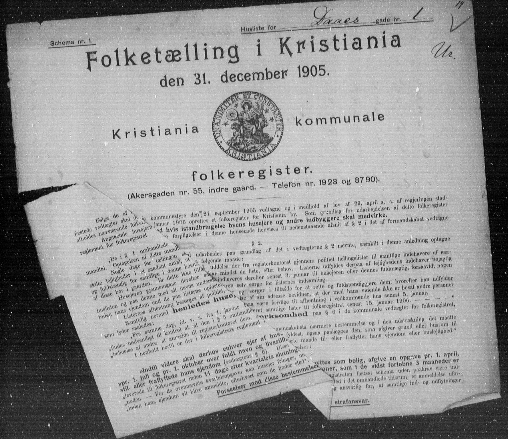 OBA, Municipal Census 1905 for Kristiania, 1905, p. 9322