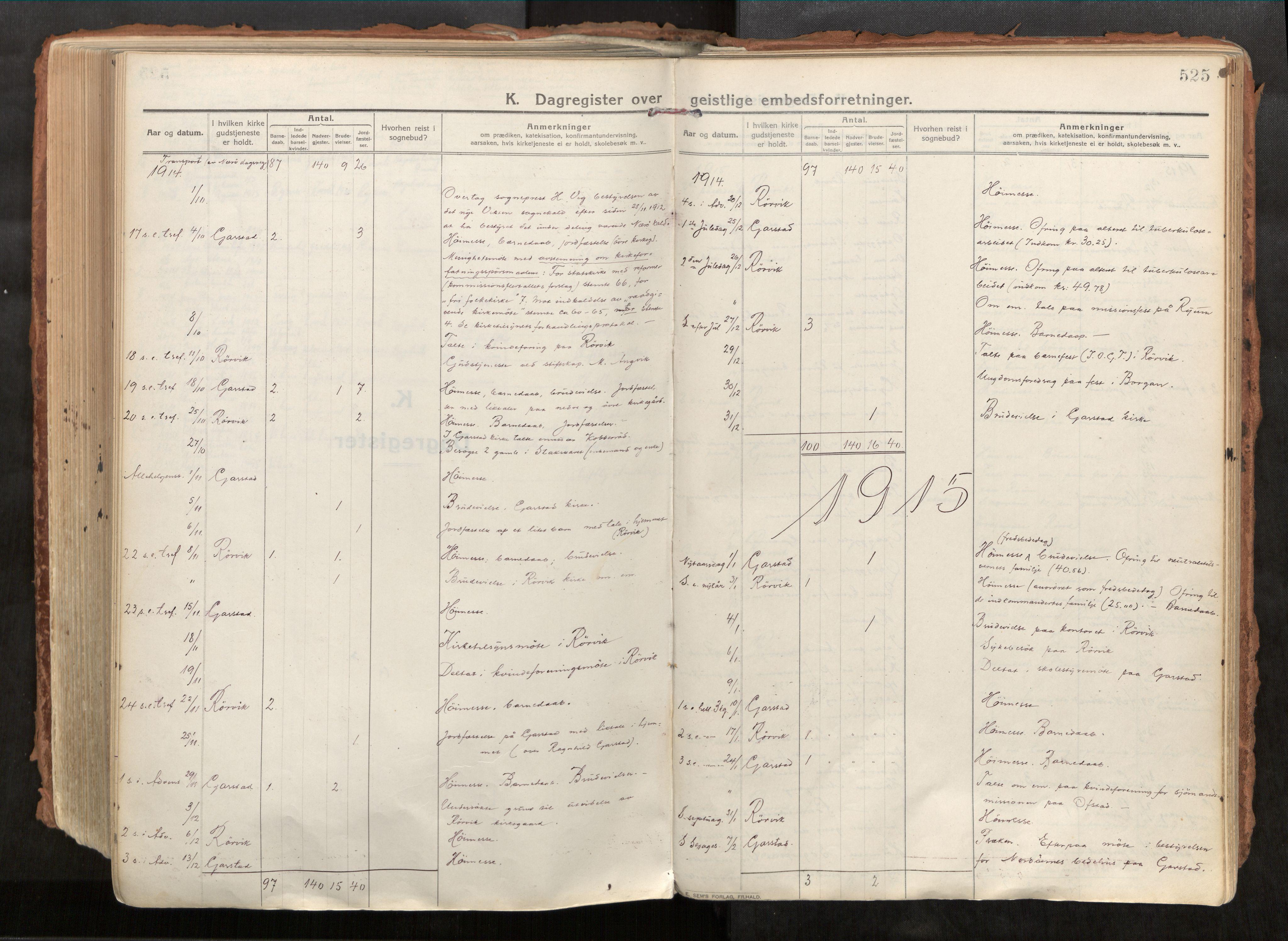 SAT, Vikna sokneprestkontor*, Parish register (official) no. 1, 1913-1934, p. 525