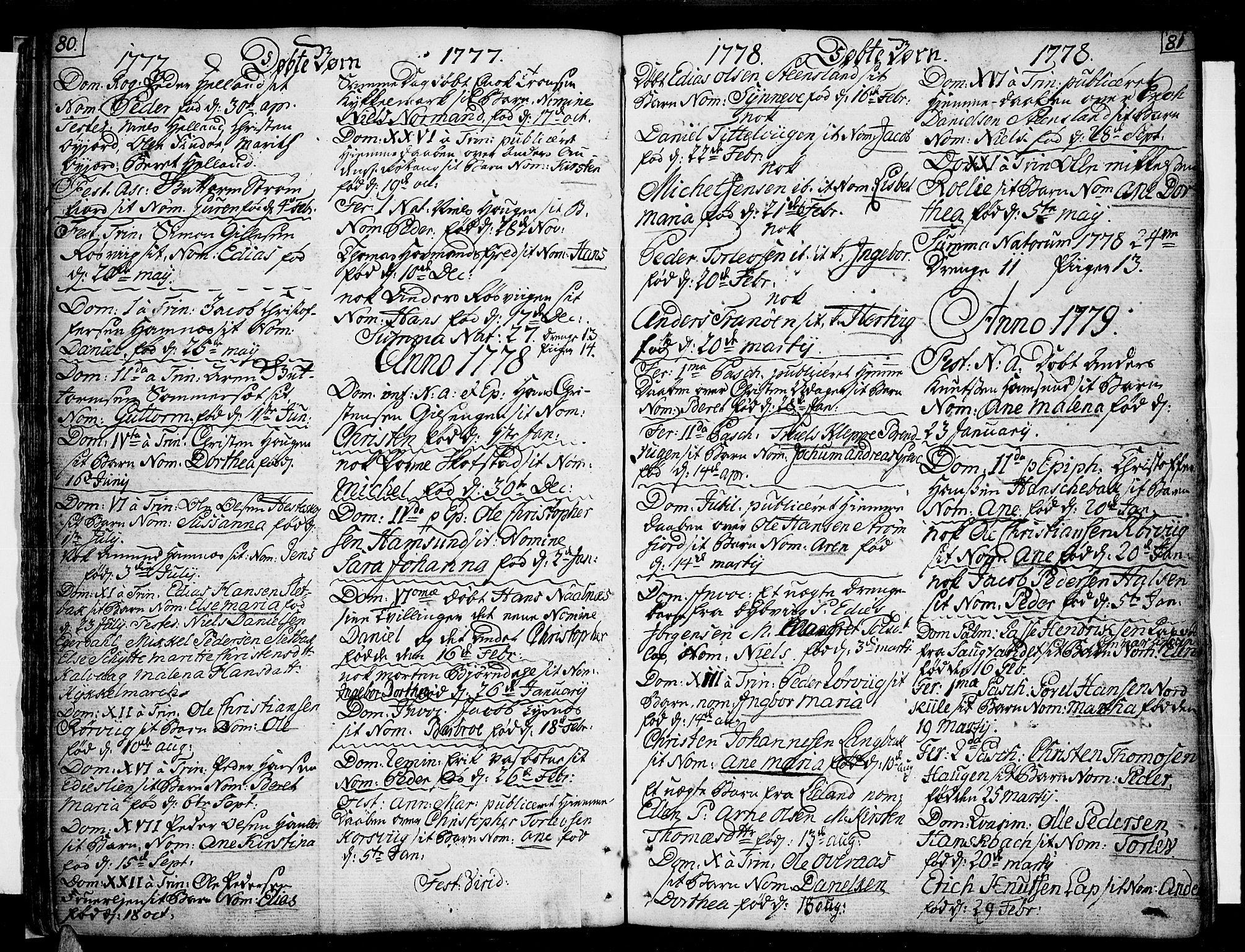 SAT, Ministerialprotokoller, klokkerbøker og fødselsregistre - Nordland, 859/L0841: Parish register (official) no. 859A01, 1766-1821, p. 80-81