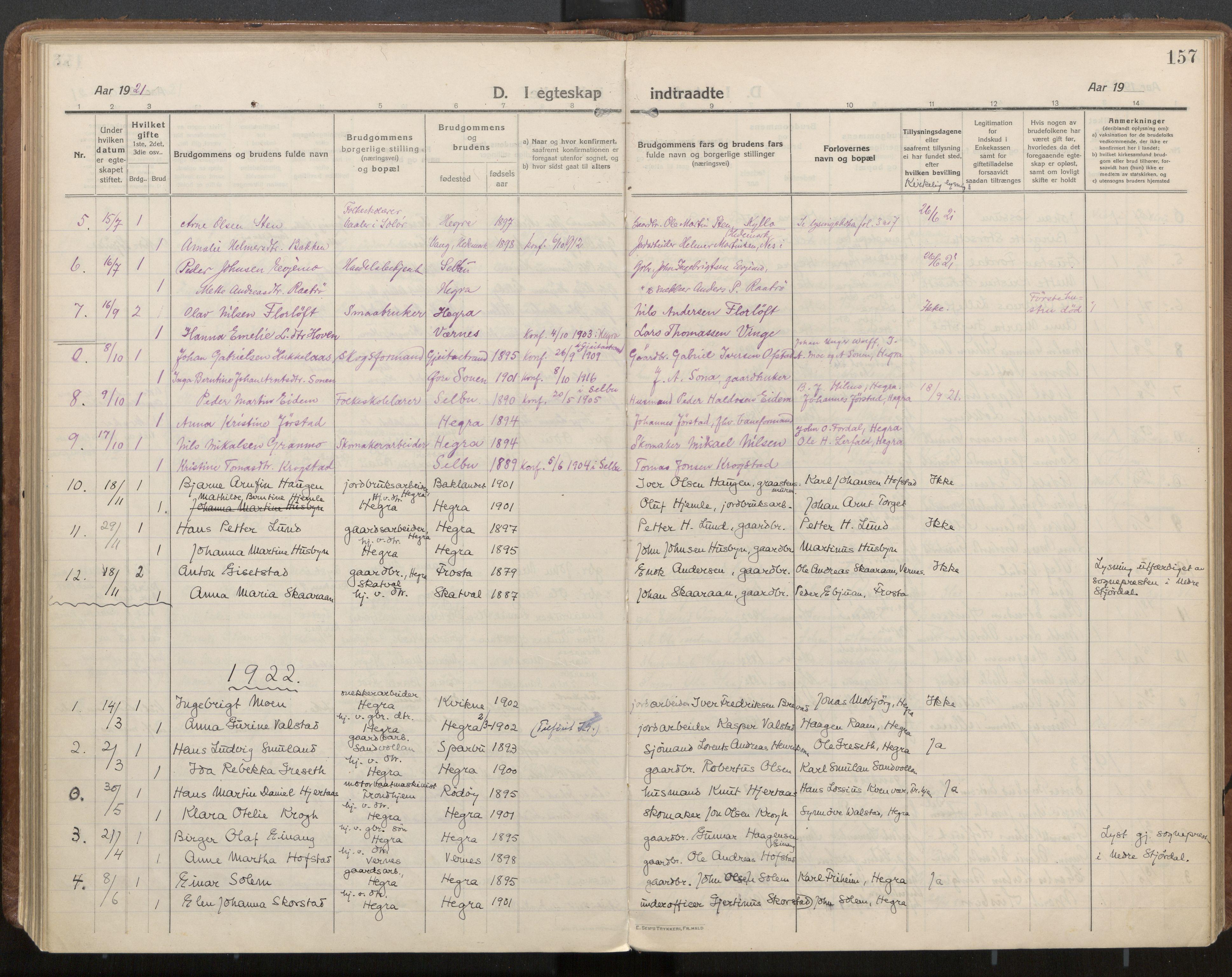 SAT, Ministerialprotokoller, klokkerbøker og fødselsregistre - Nord-Trøndelag, 703/L0037: Parish register (official) no. 703A10, 1915-1932, p. 157