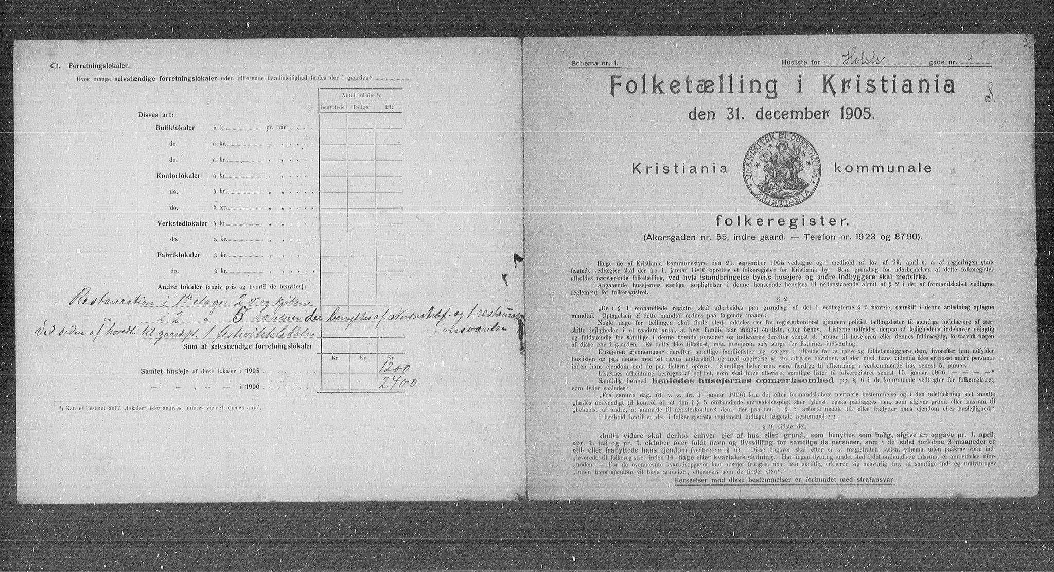 OBA, Municipal Census 1905 for Kristiania, 1905, p. 21248