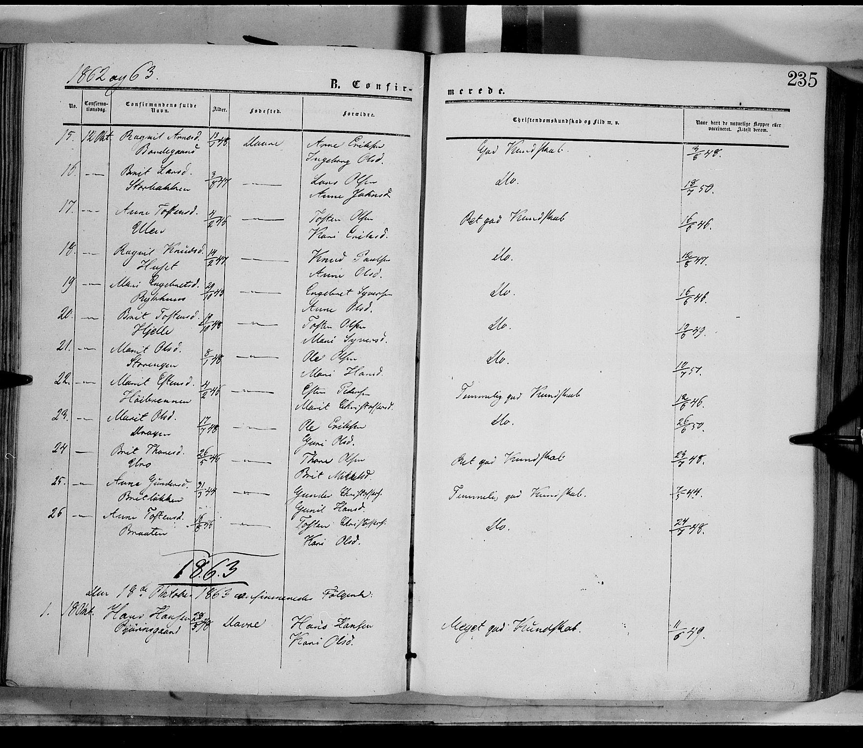 SAH, Dovre prestekontor, Parish register (official) no. 1, 1854-1878, p. 235