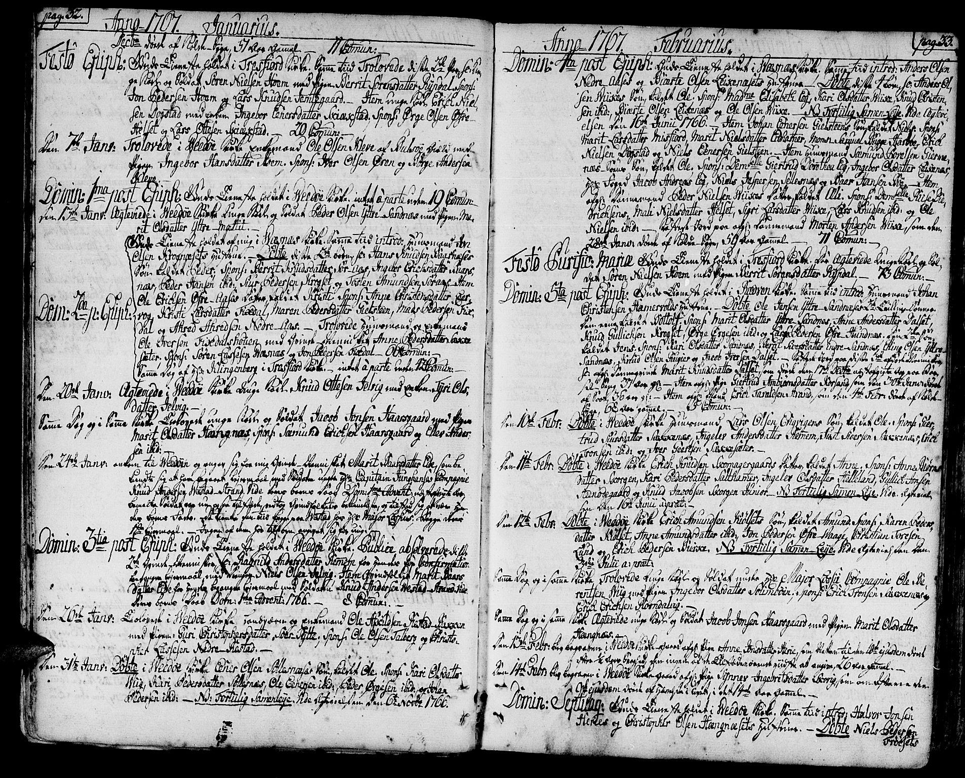 SAT, Ministerialprotokoller, klokkerbøker og fødselsregistre - Møre og Romsdal, 547/L0600: Parish register (official) no. 547A02, 1765-1799, p. 32-33