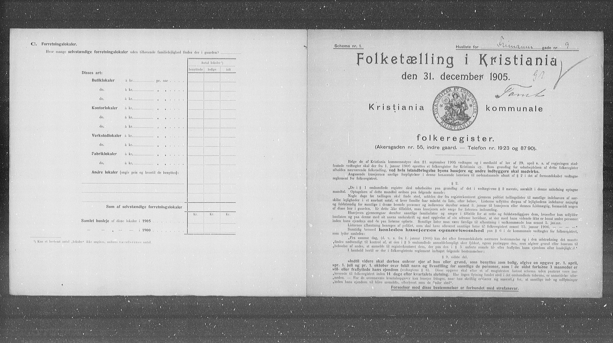 OBA, Municipal Census 1905 for Kristiania, 1905, p. 13885