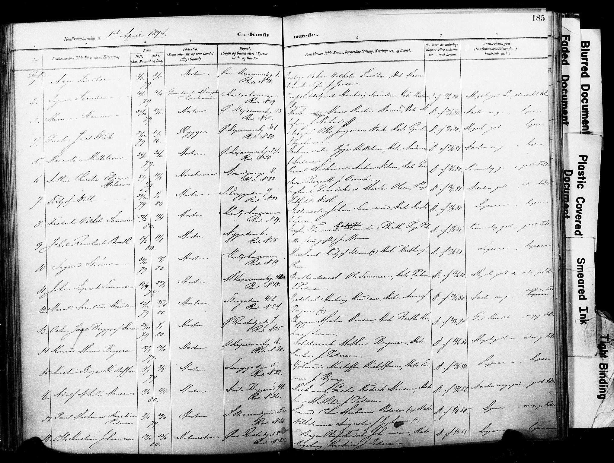 SAKO, Horten kirkebøker, F/Fa/L0004: Parish register (official) no. 4, 1888-1895, p. 185