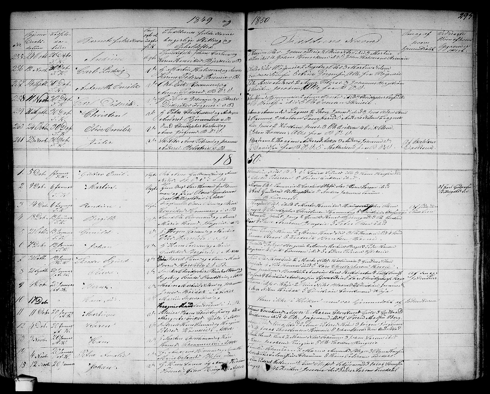SAO, Asker prestekontor Kirkebøker, F/Fa/L0007: Parish register (official) no. I 7, 1825-1864, p. 295