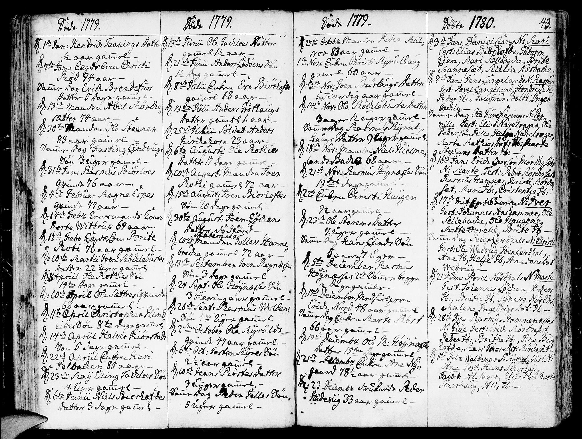SAB, Eid Sokneprestembete, H/Haa: Parish register (official) no. A 3, 1770-1805, p. 43