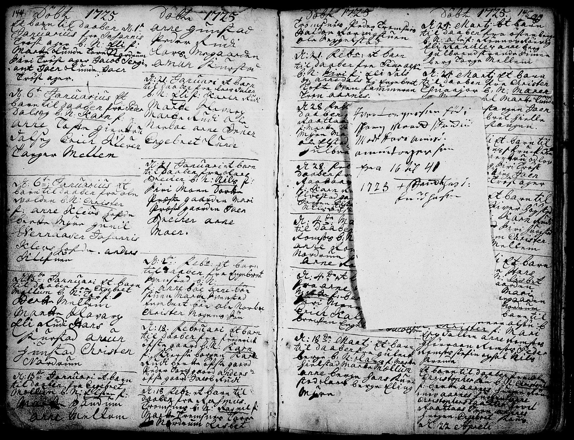 SAH, Ringebu prestekontor, Parish register (official) no. 1, 1696-1733, p. 144-145